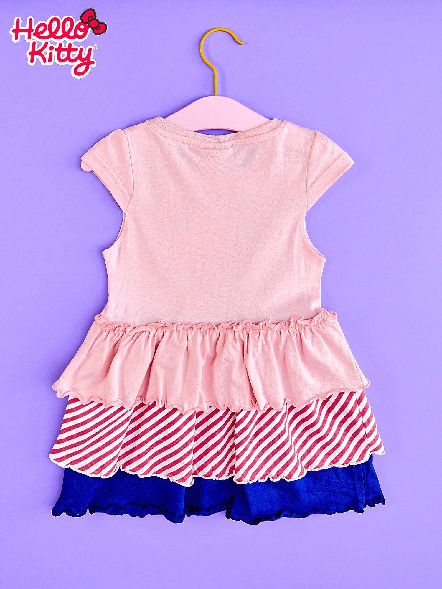 Różowa sukienka dla dziewczynki z kolorowymi falbankami HELLO KITTY                                  zdj.                                  2