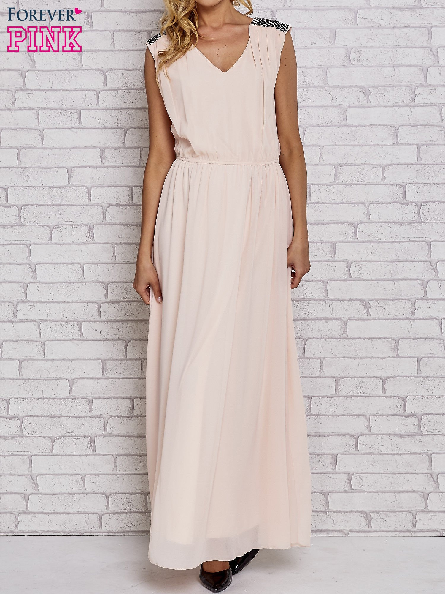 Różowa sukienka maxi z pagonami z dżetów                                  zdj.                                  1