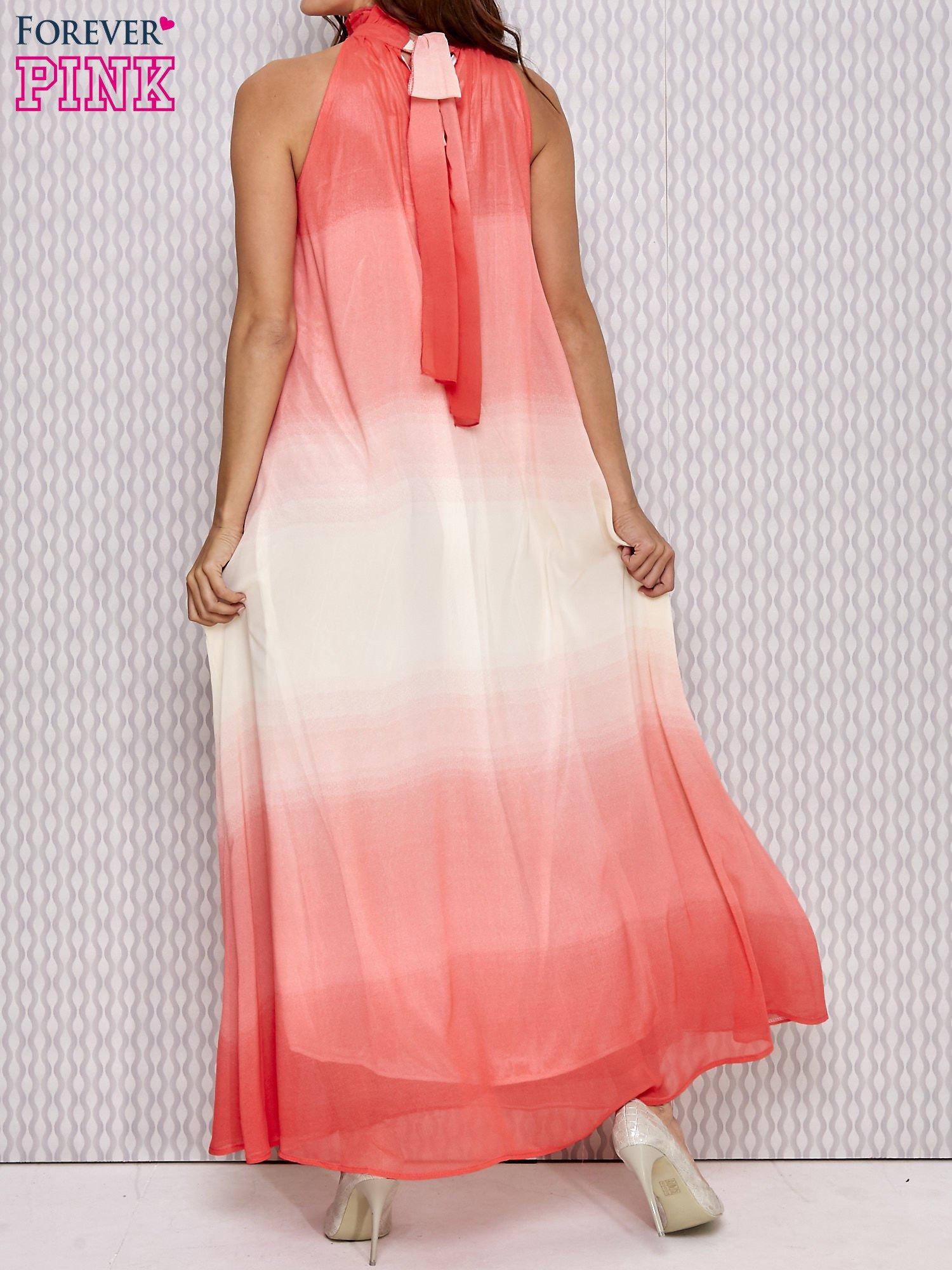 Różowa sukienka maxi z wiązaniem na plecach                                  zdj.                                  2