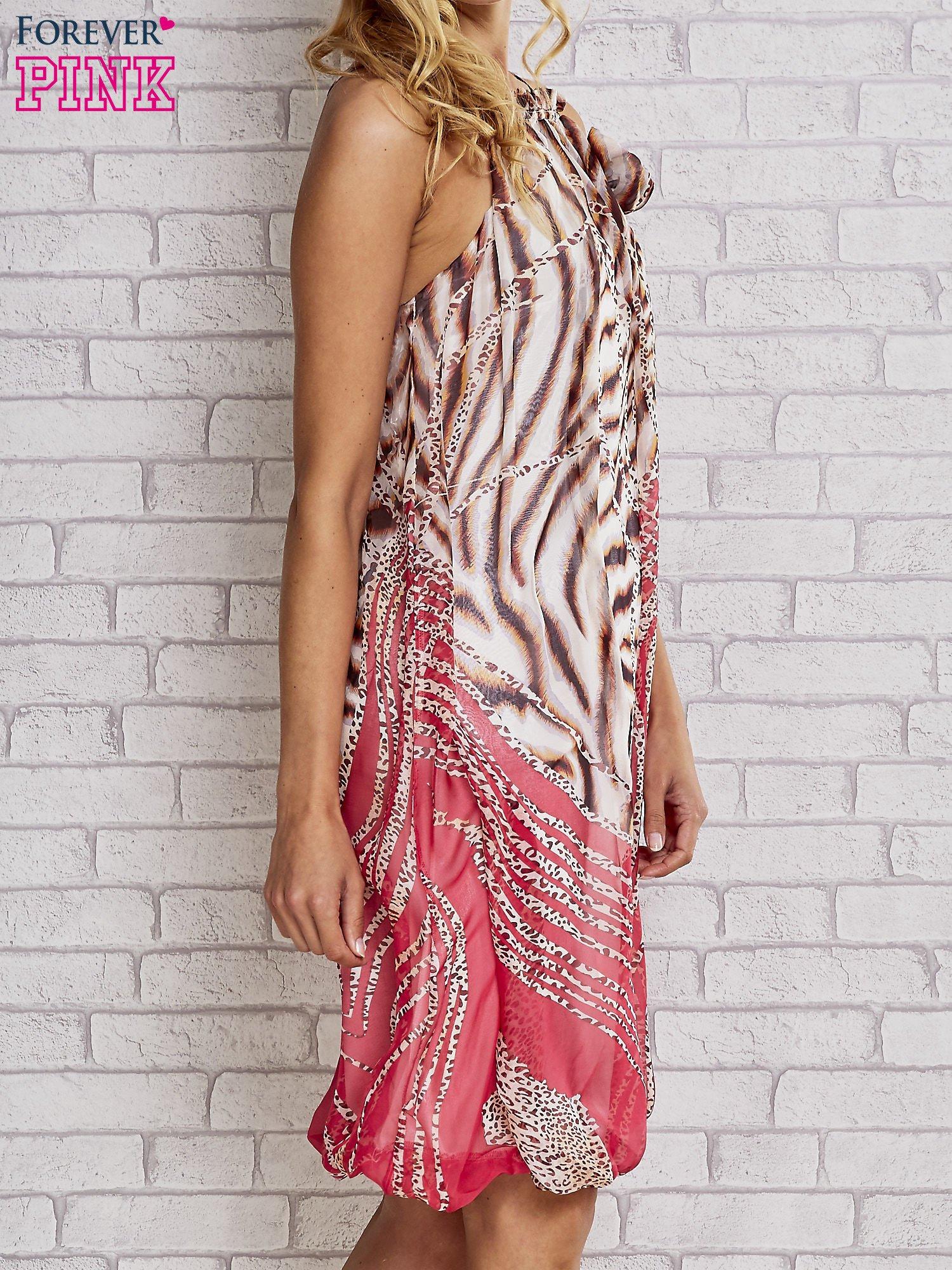 Różowa sukienka wzór leopard print                                  zdj.                                  3