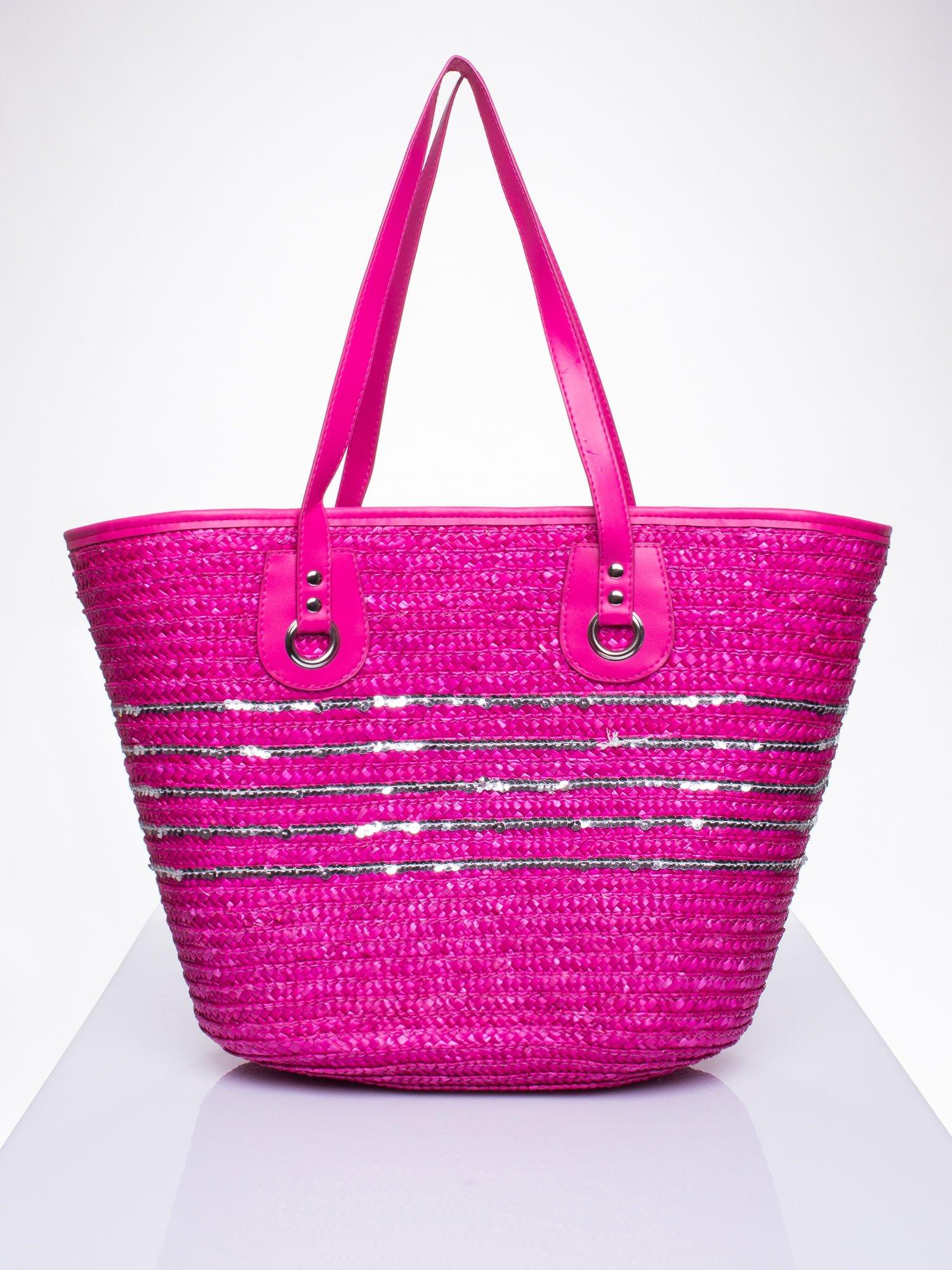 Różowa torba koszyk plażowy z cekinami                                  zdj.                                  3