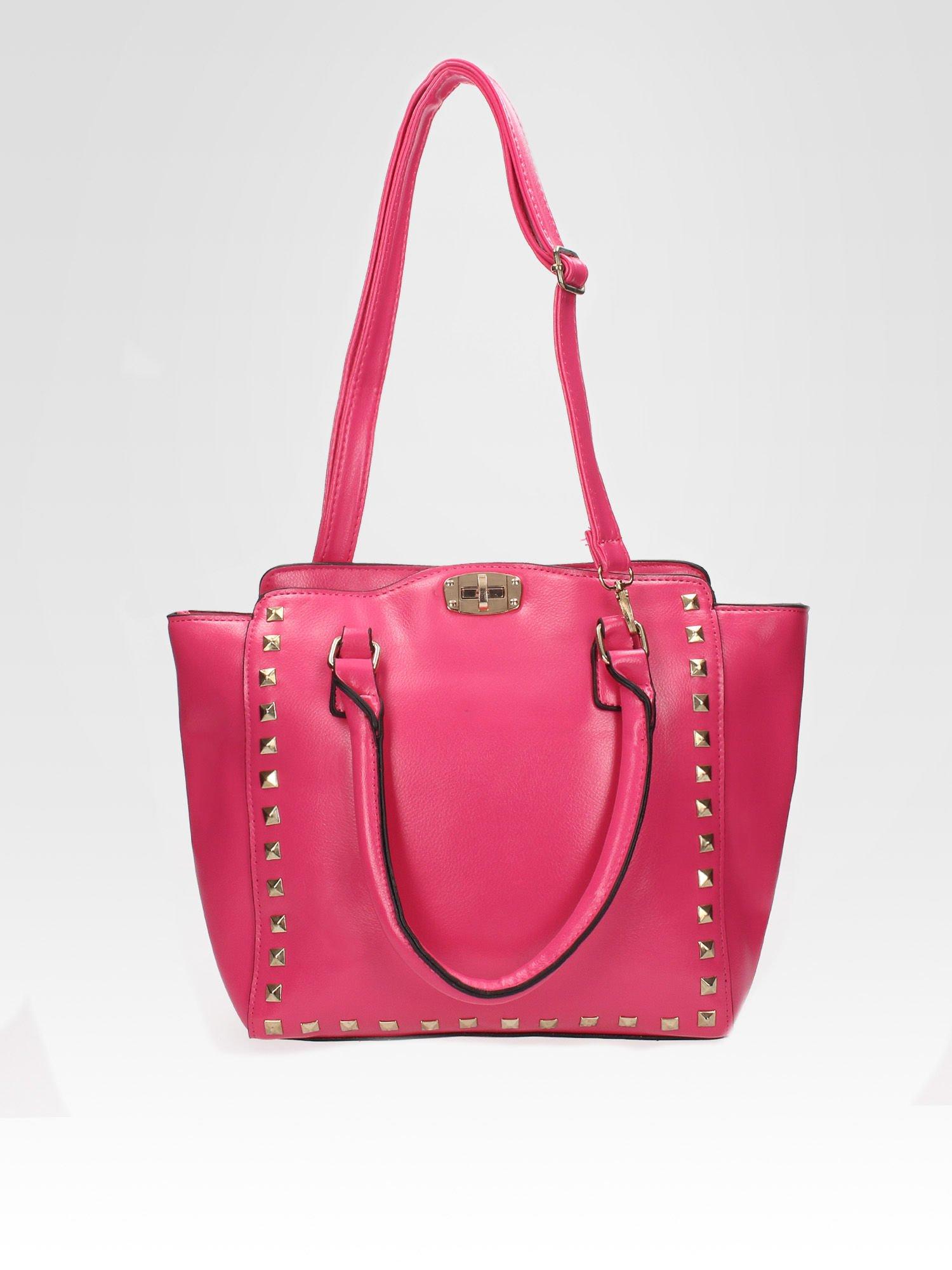 Różowa torebka na ramię z dżetami                                  zdj.                                  4