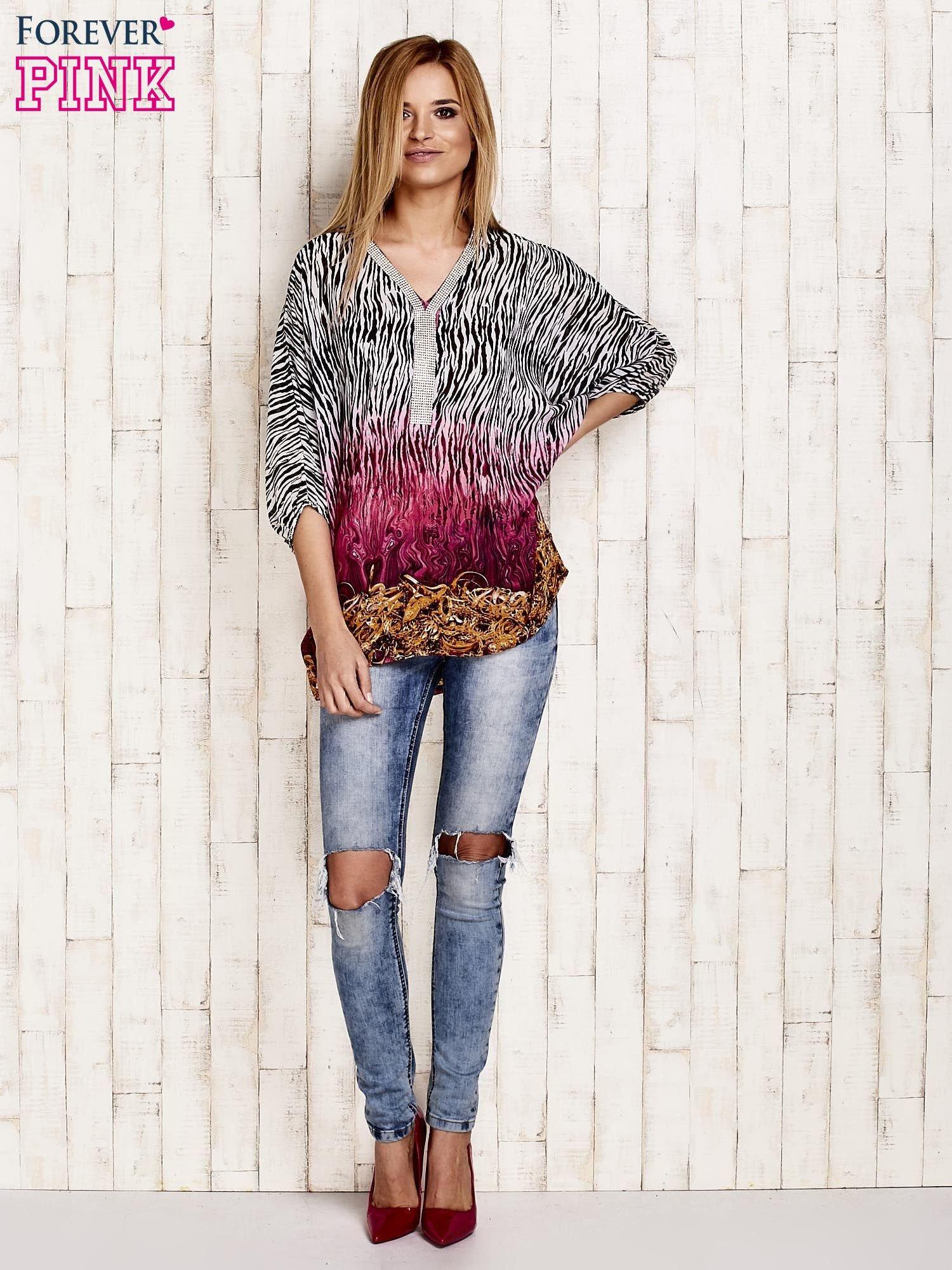 Różowa wzorzysta koszula oversize z dekoltem z cyrkonii                                  zdj.                                  4