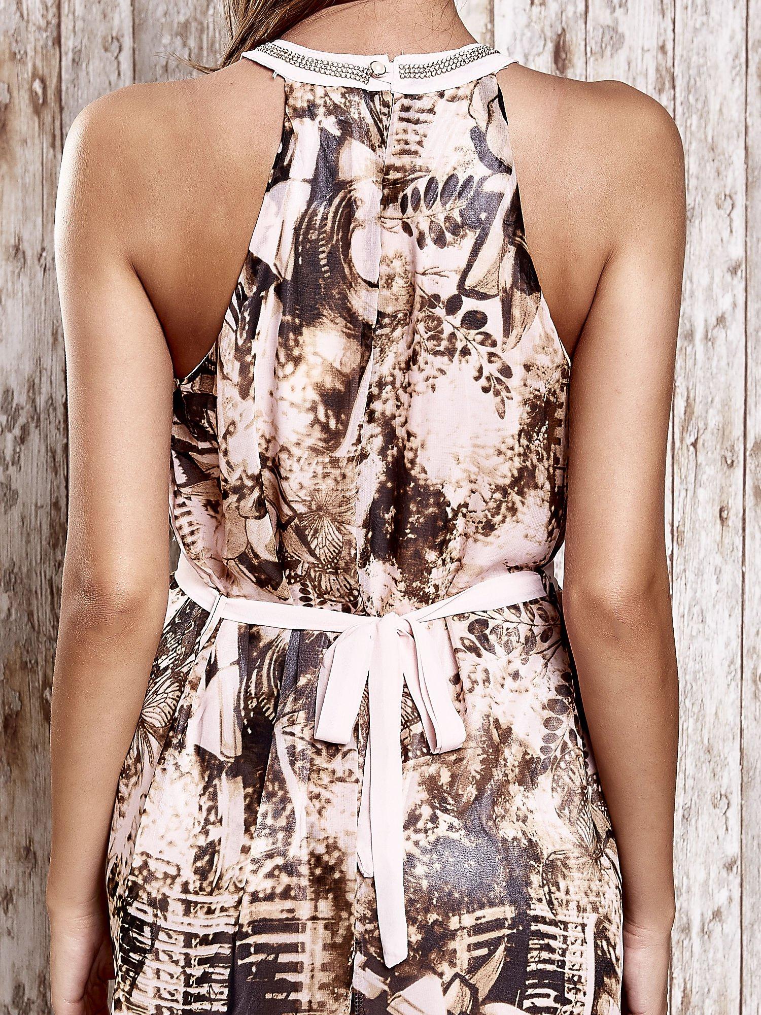 Różowa wzorzysta sukienka maxi z dżetami                                   zdj.                                  7