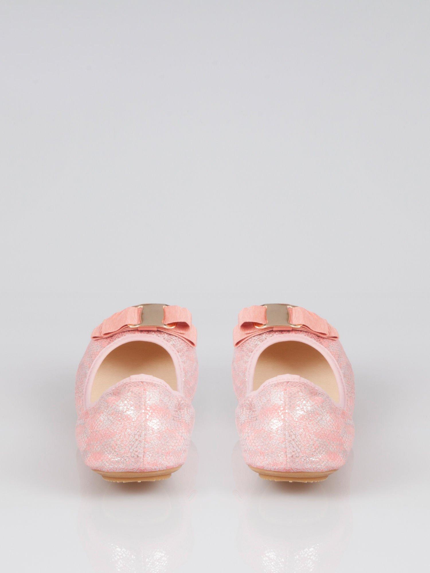 Różowe baleriny sparkling melange na gumkę                                   zdj.                                  2