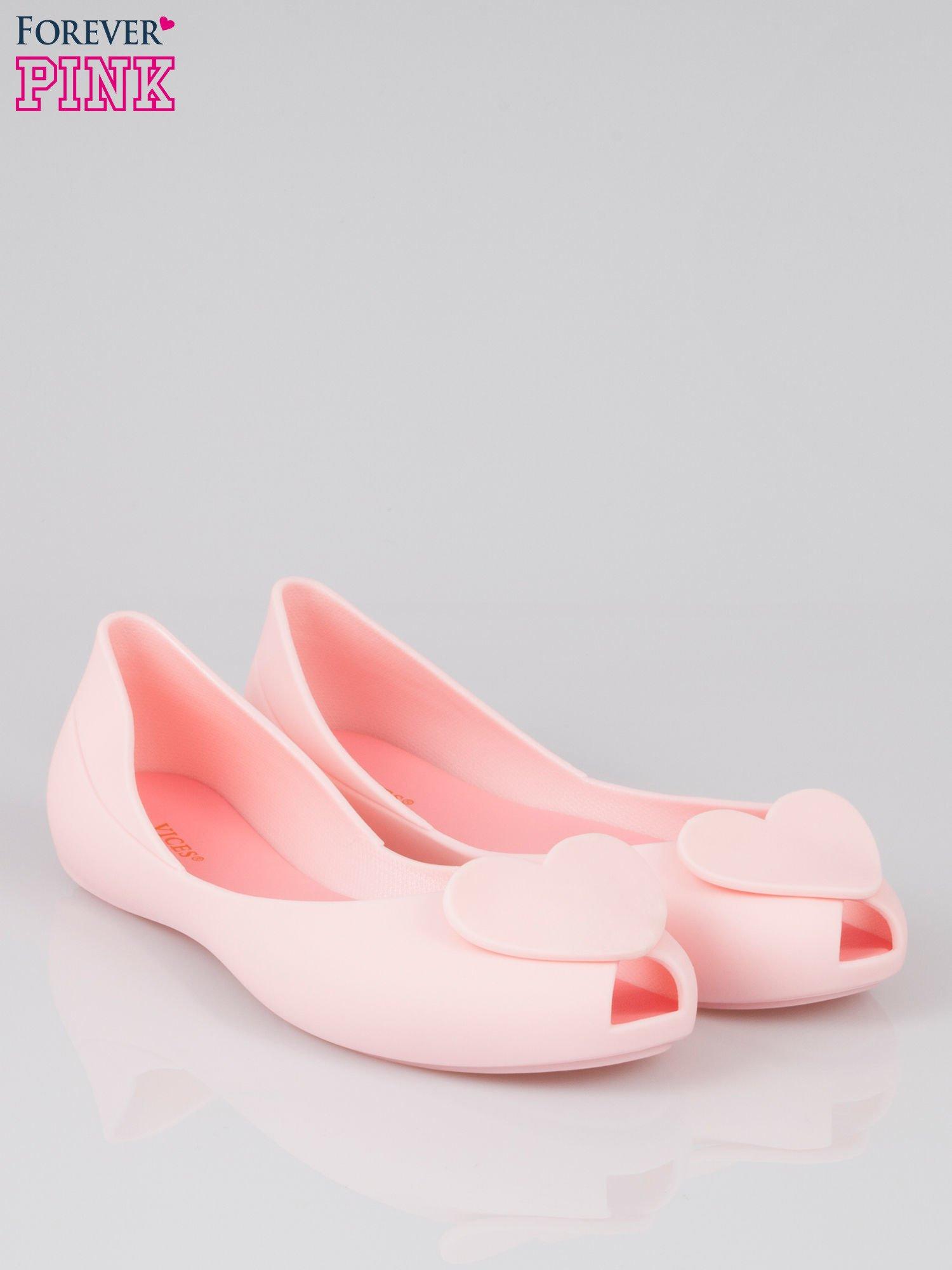 Różowe gumowe baleriny meliski z sercem                                  zdj.                                  2