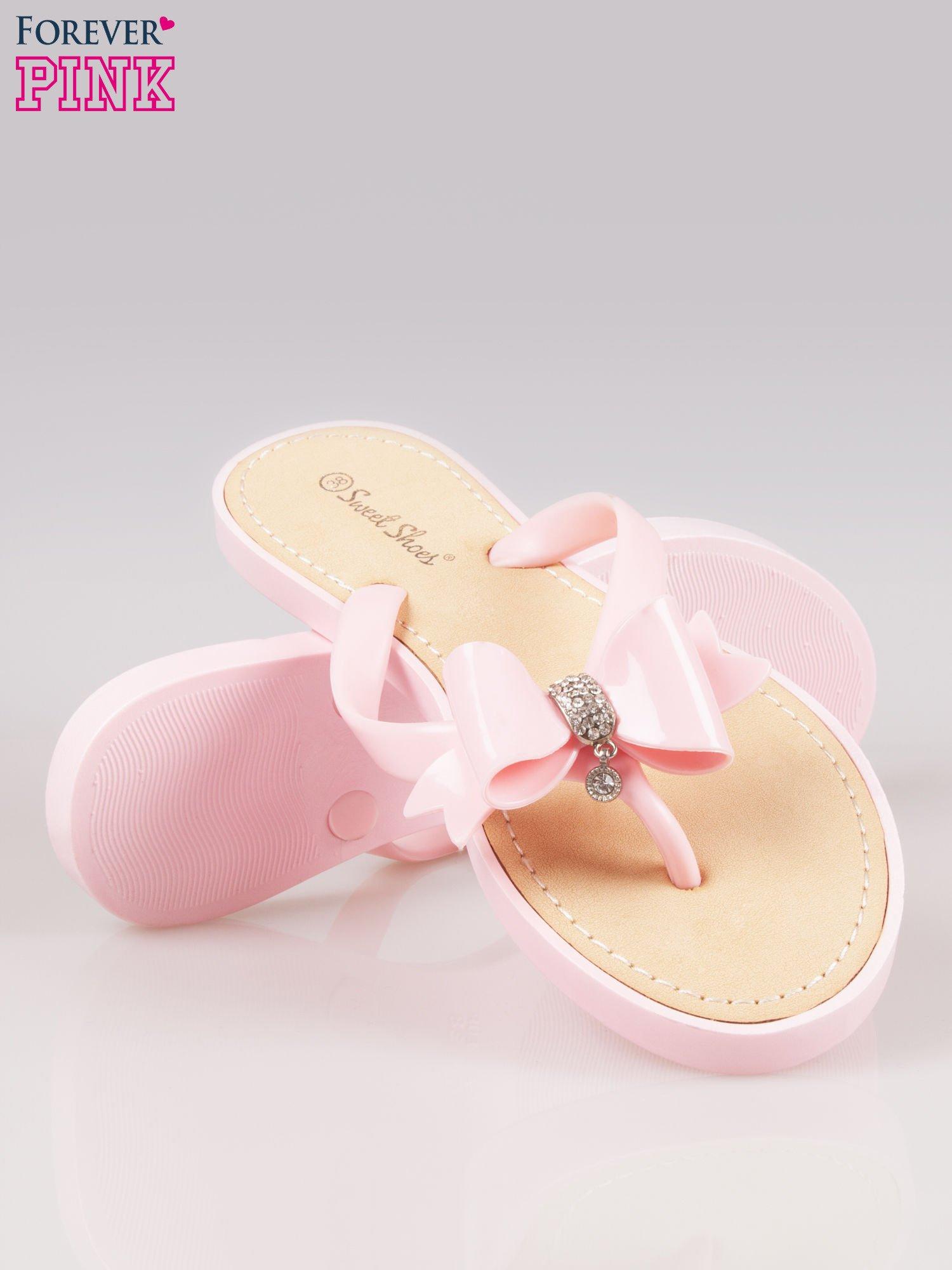 Różowe gumowe japonki z kokardą na grubszej podeszwie                                  zdj.                                  4