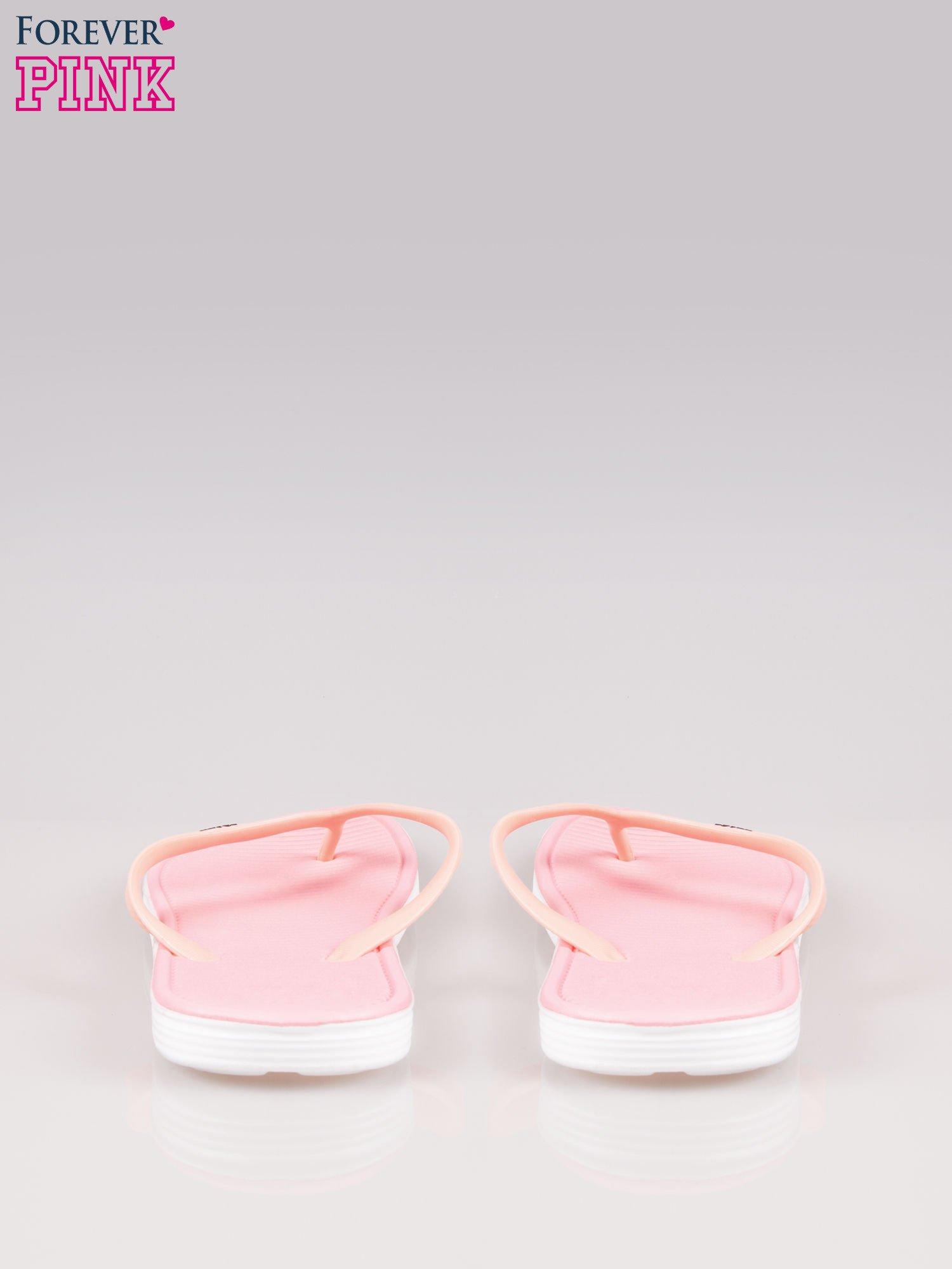 Różowe kąpielowe japonki na kontrastowej podeszwie                                  zdj.                                  3