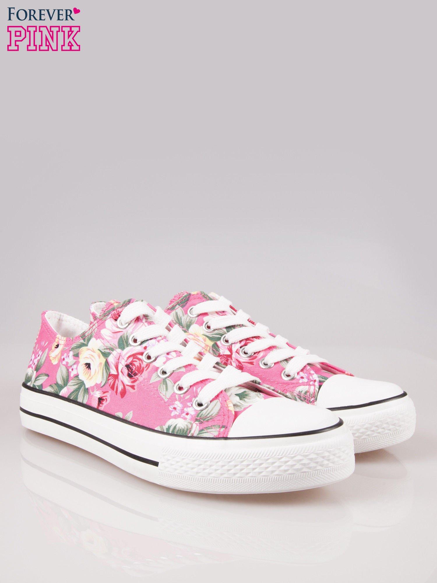 Różowe kwiatowe trampki damskie przed kostkę                                  zdj.                                  2