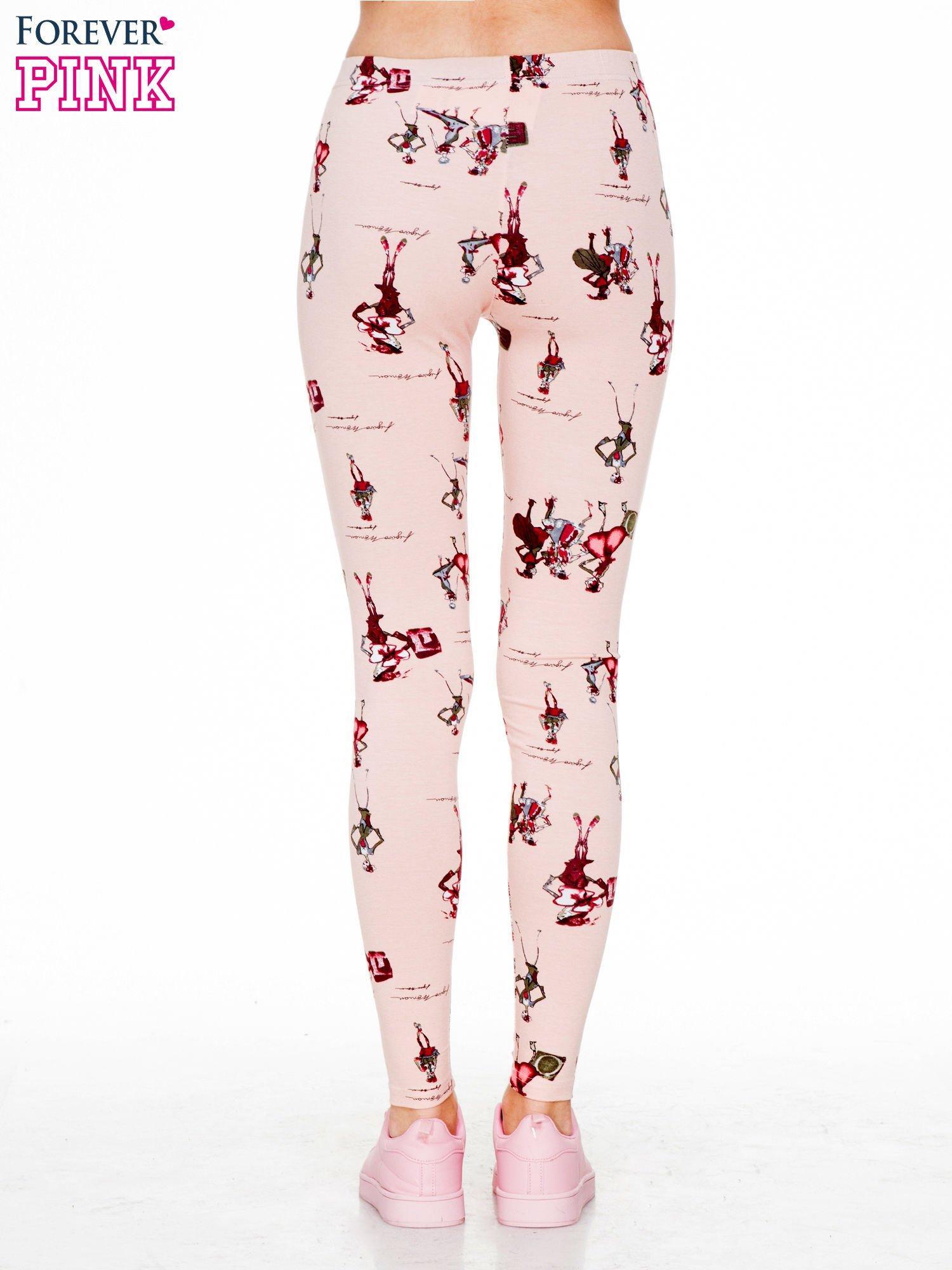 Różowe legginsy z nadrukiem kobiet w stylu retro                                  zdj.                                  2