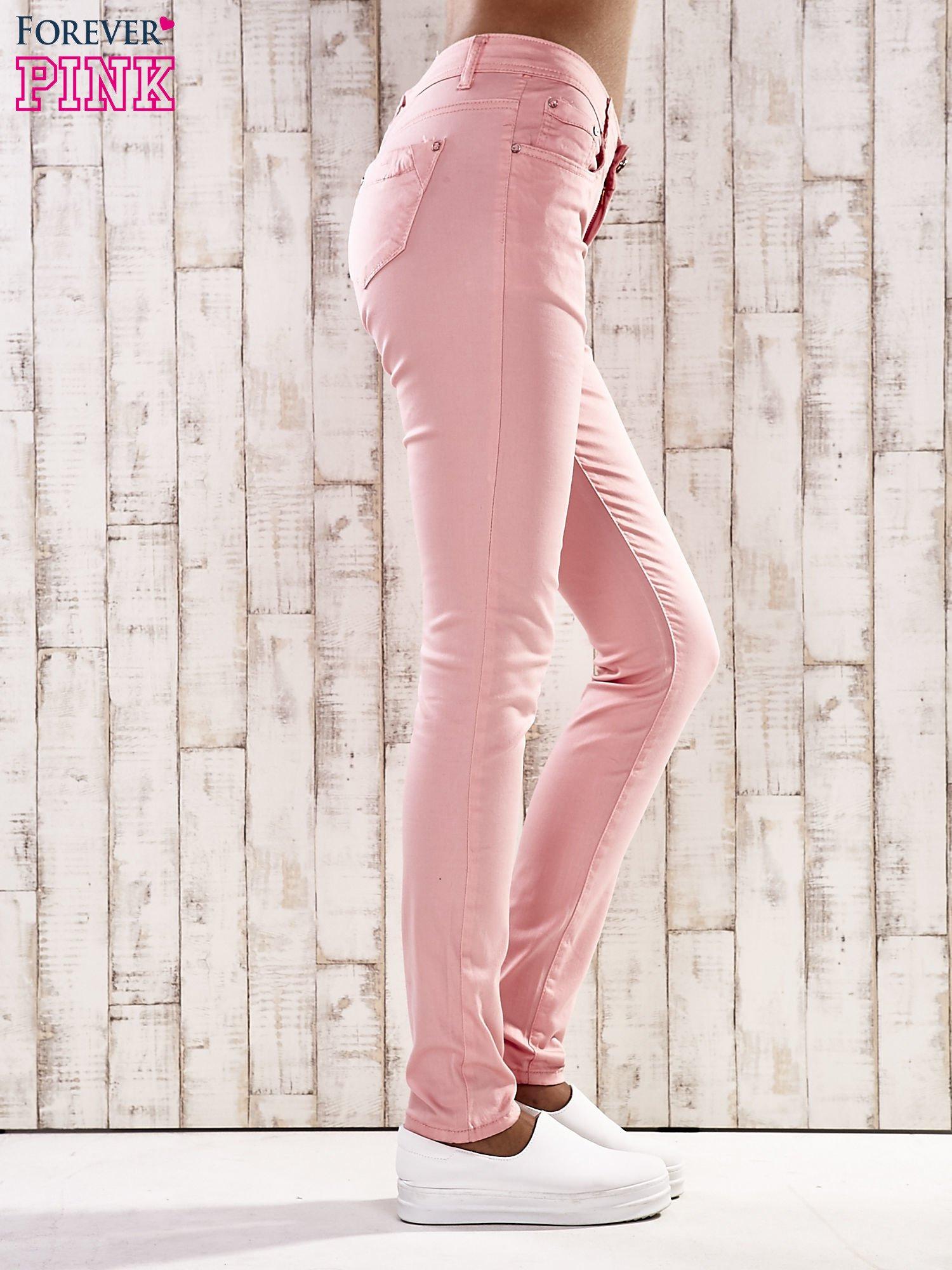 Różowe spodnie skinny jeans z wyższym stanem                                  zdj.                                  3