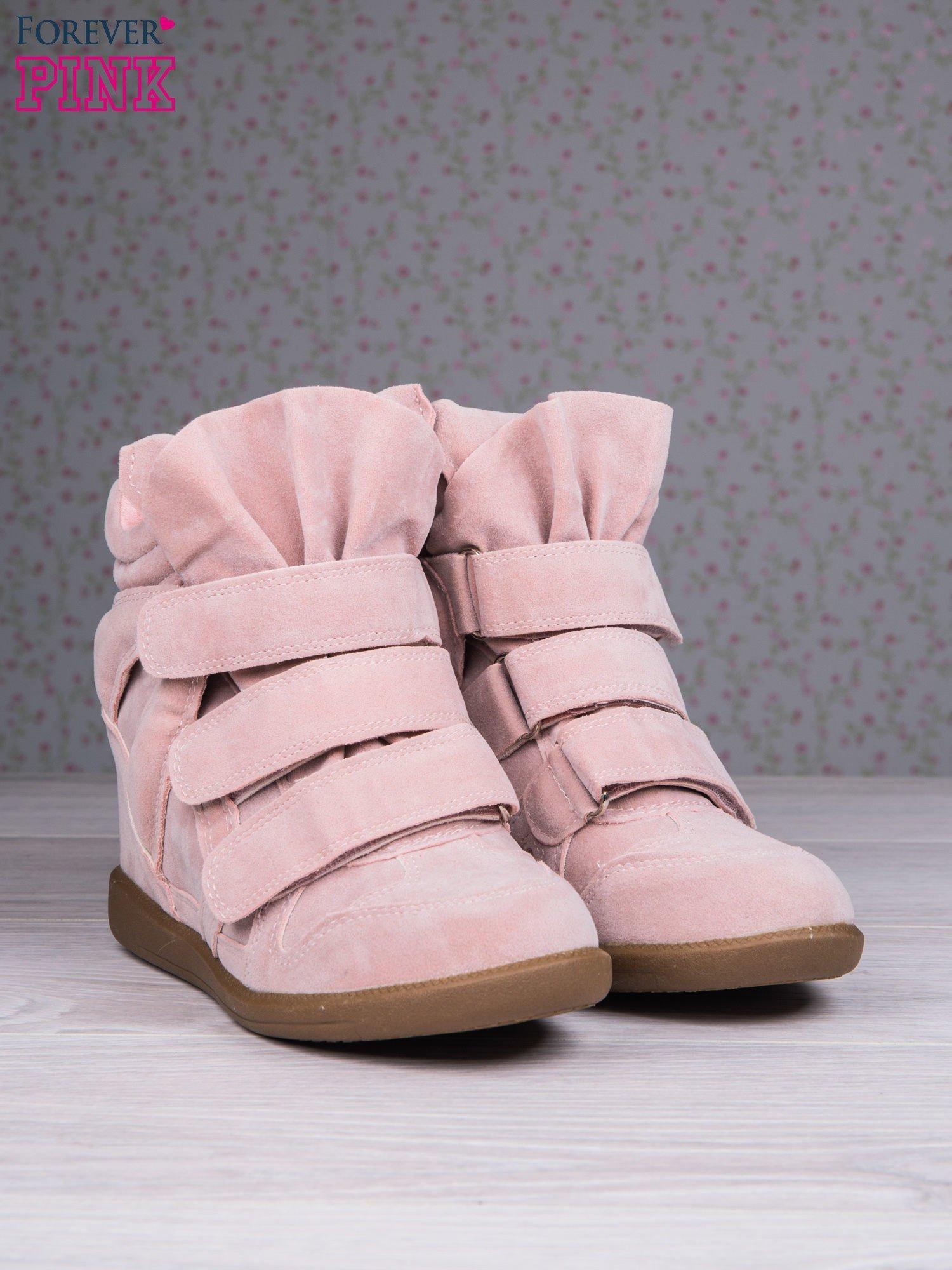 Różowe zamszowe sneakersy na rzepy Tris                                  zdj.                                  3