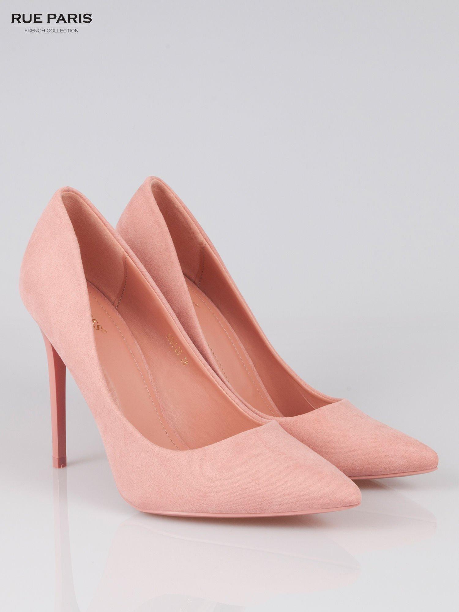 Różowe zamszowe szpilki w szpic  faux suede                                  zdj.                                  2