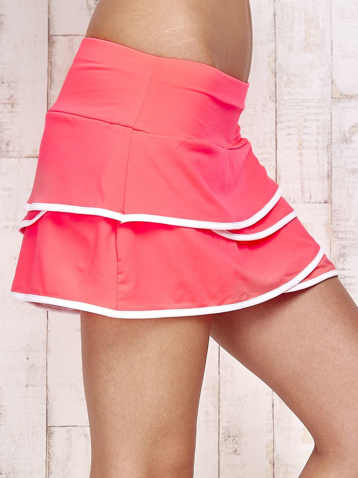Różowo-białe spodenki spódniczka tenisowa z falbanką                                  zdj.                                  5