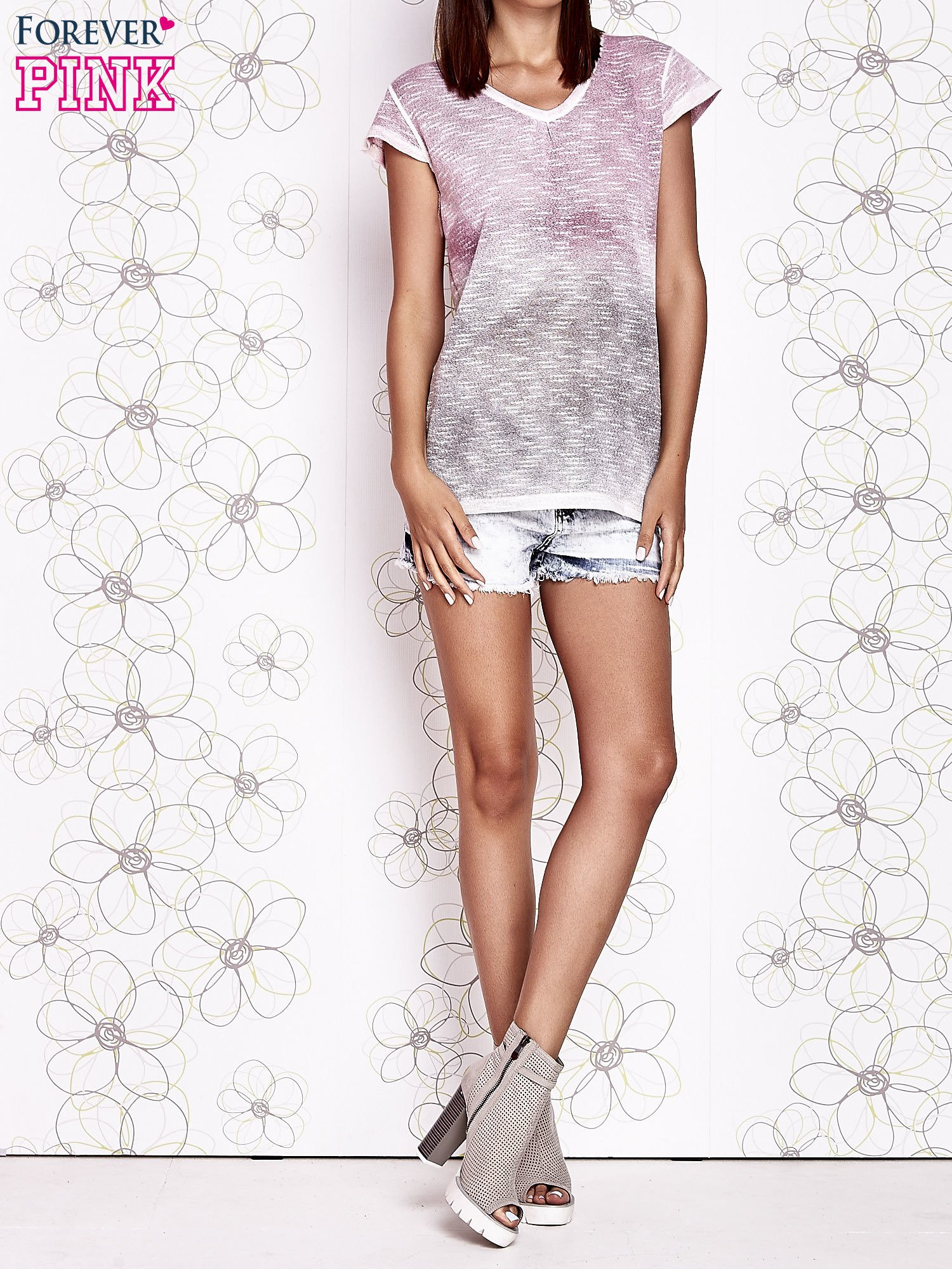 Różowo-szary t-shirt z efektem ombre                                  zdj.                                  6