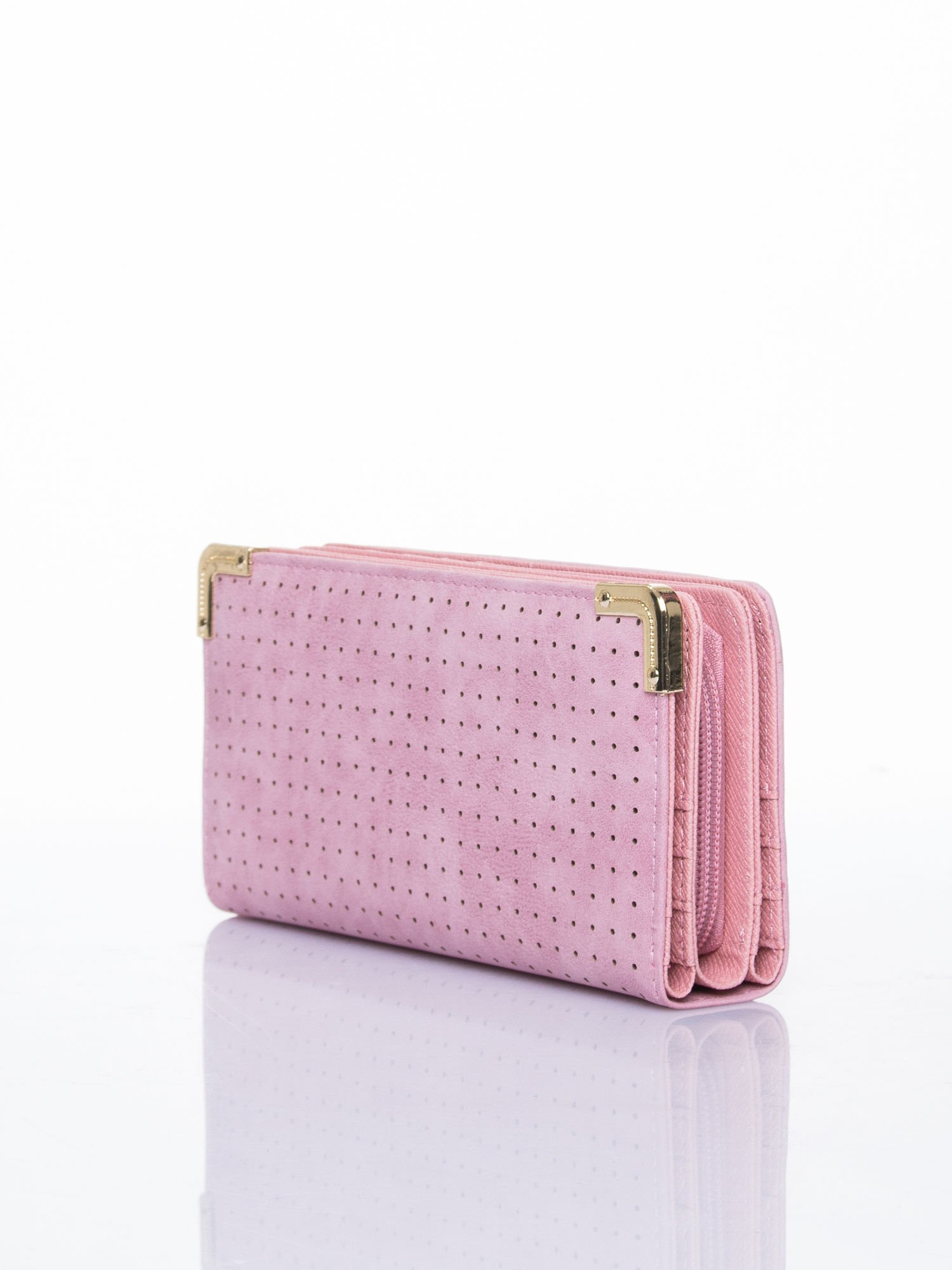 Różowy ażurowany portfel ze złotymi okuciami                                  zdj.                                  3