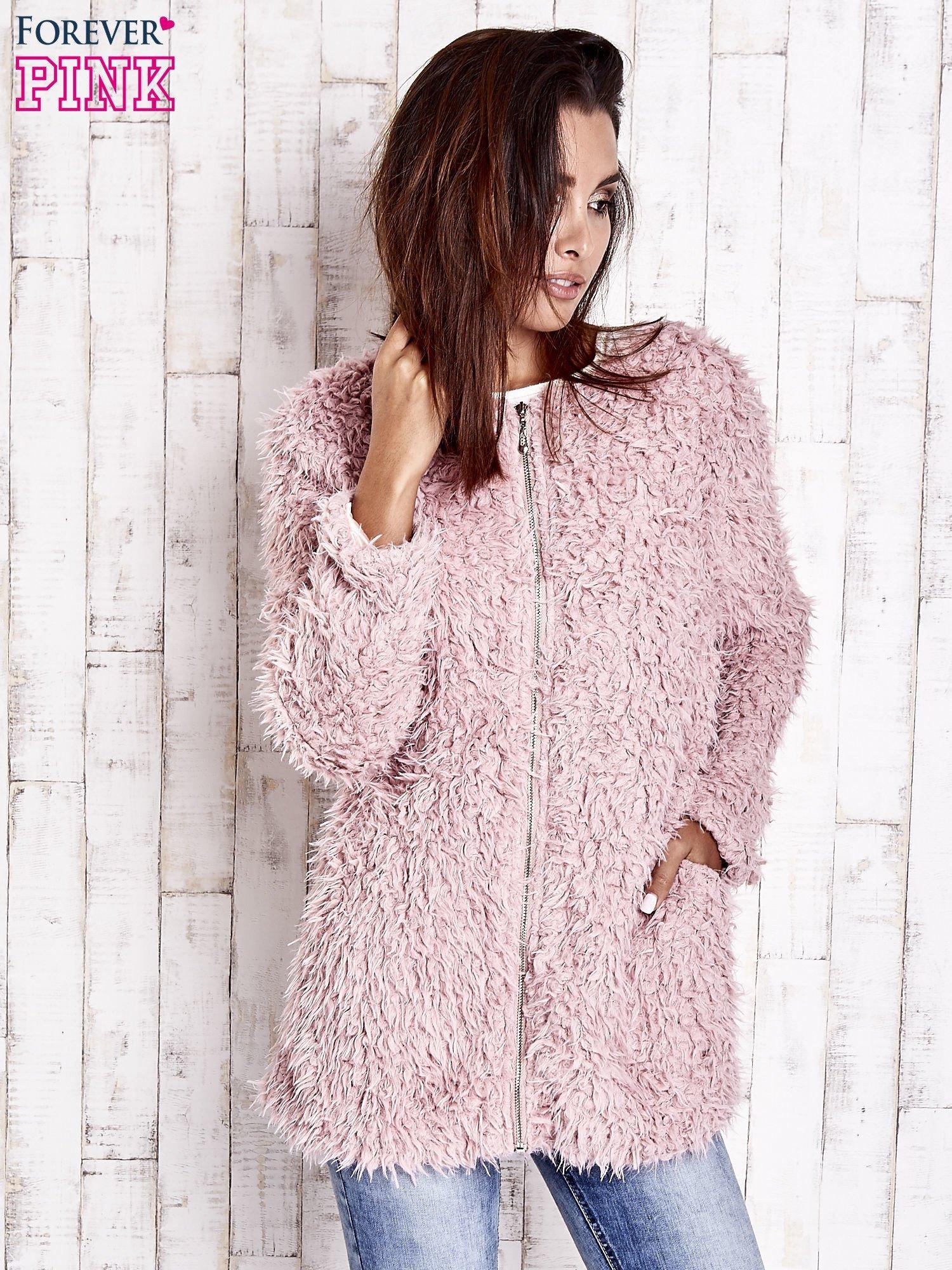Różowy futrzany sweter kurtka na suwak                                  zdj.                                  9