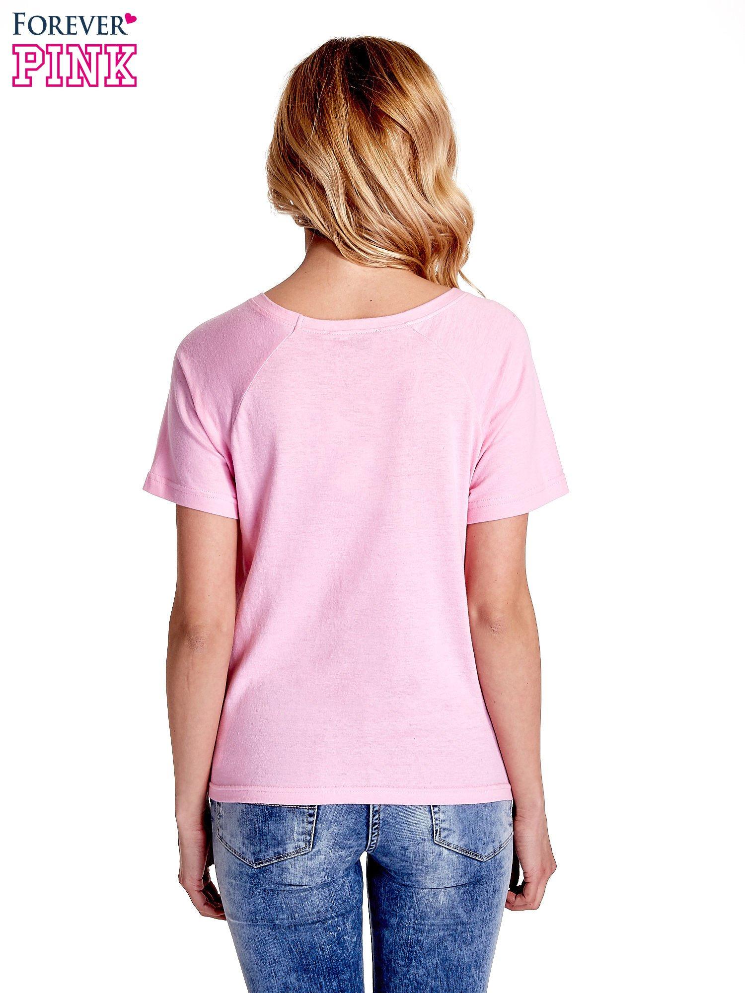 Różowy gładki t-shirt                                  zdj.                                  4