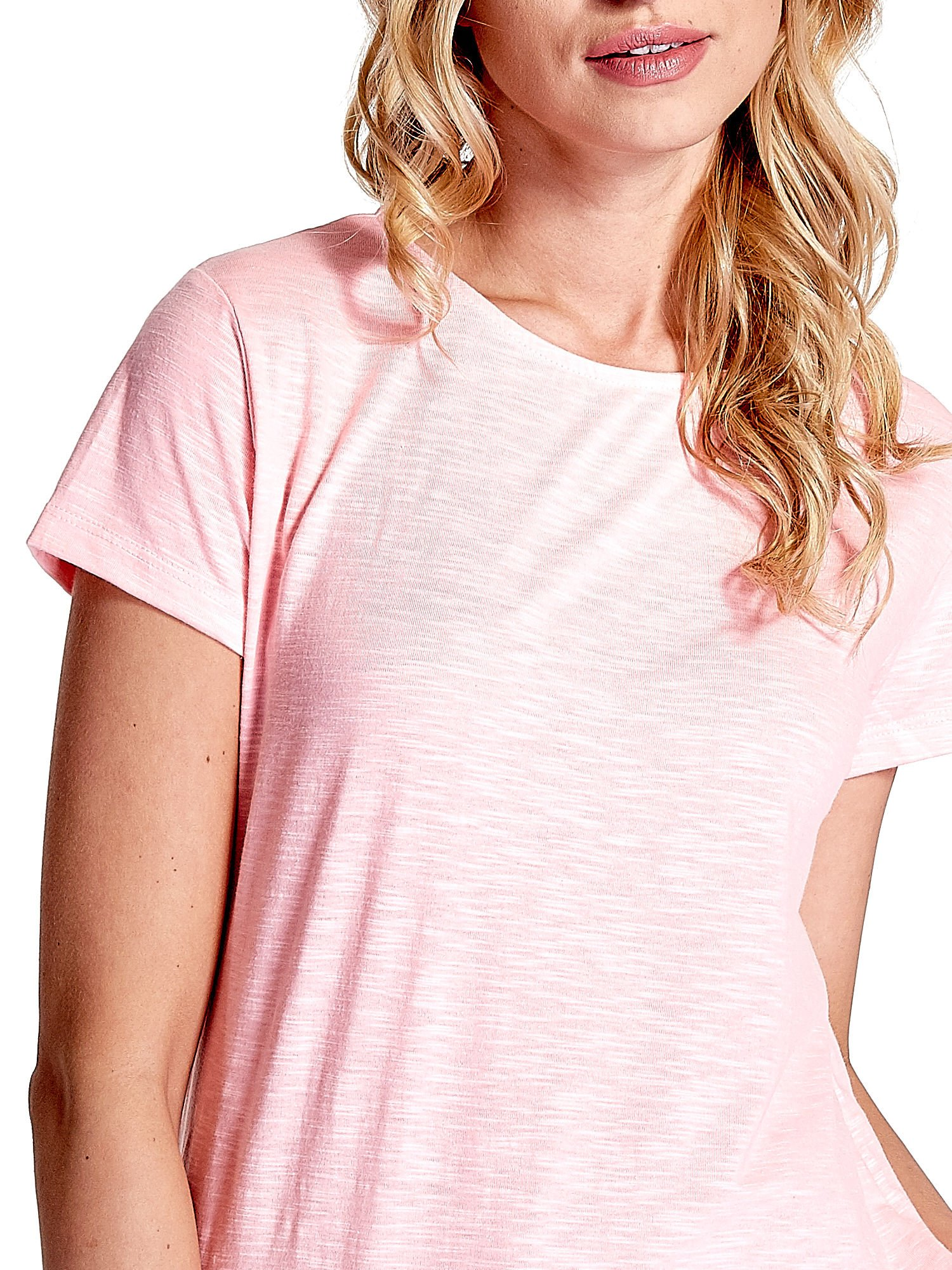 Różowy jednolity t-shirt                                  zdj.                                  5