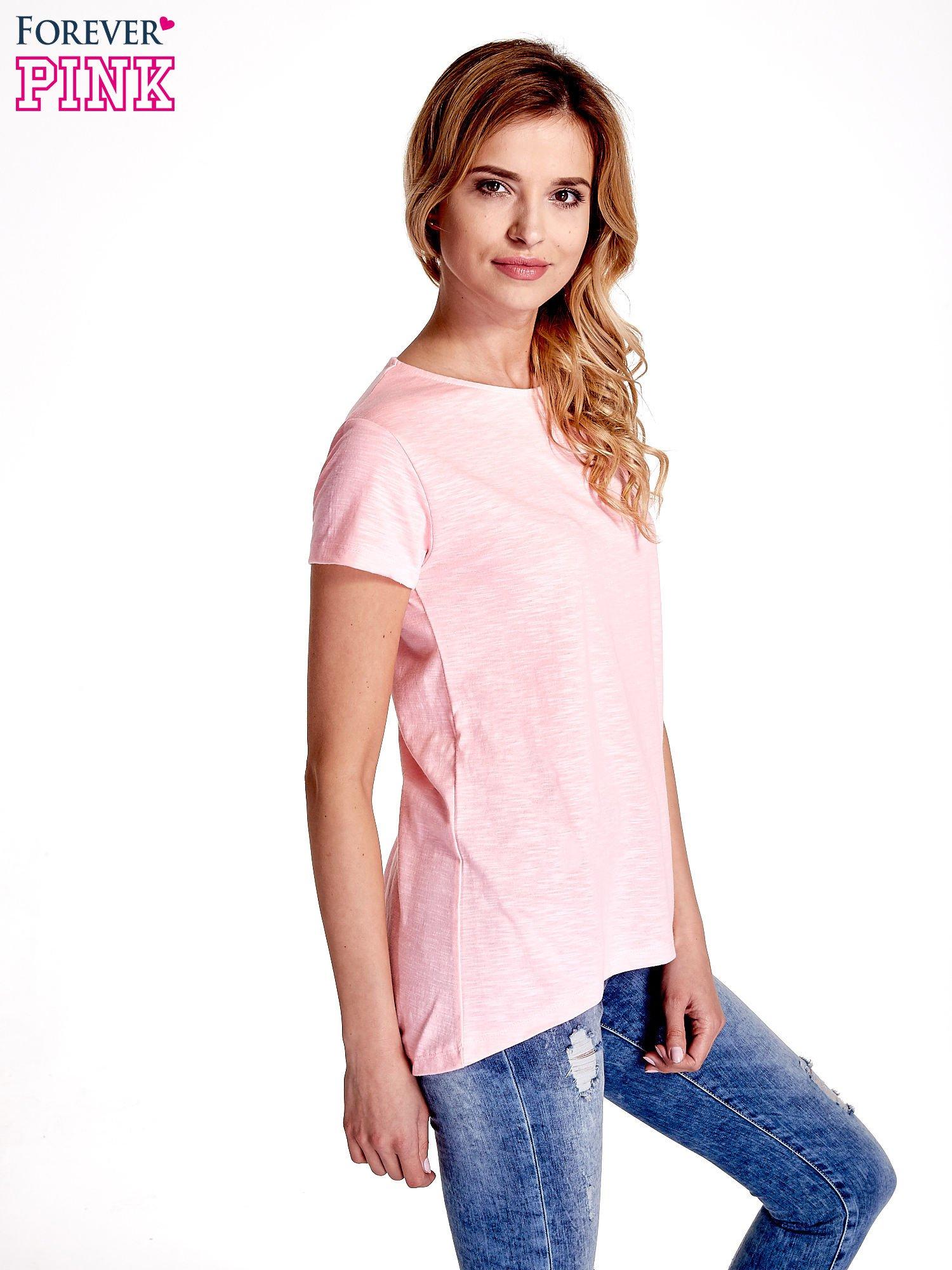 Różowy jednolity t-shirt                                  zdj.                                  3
