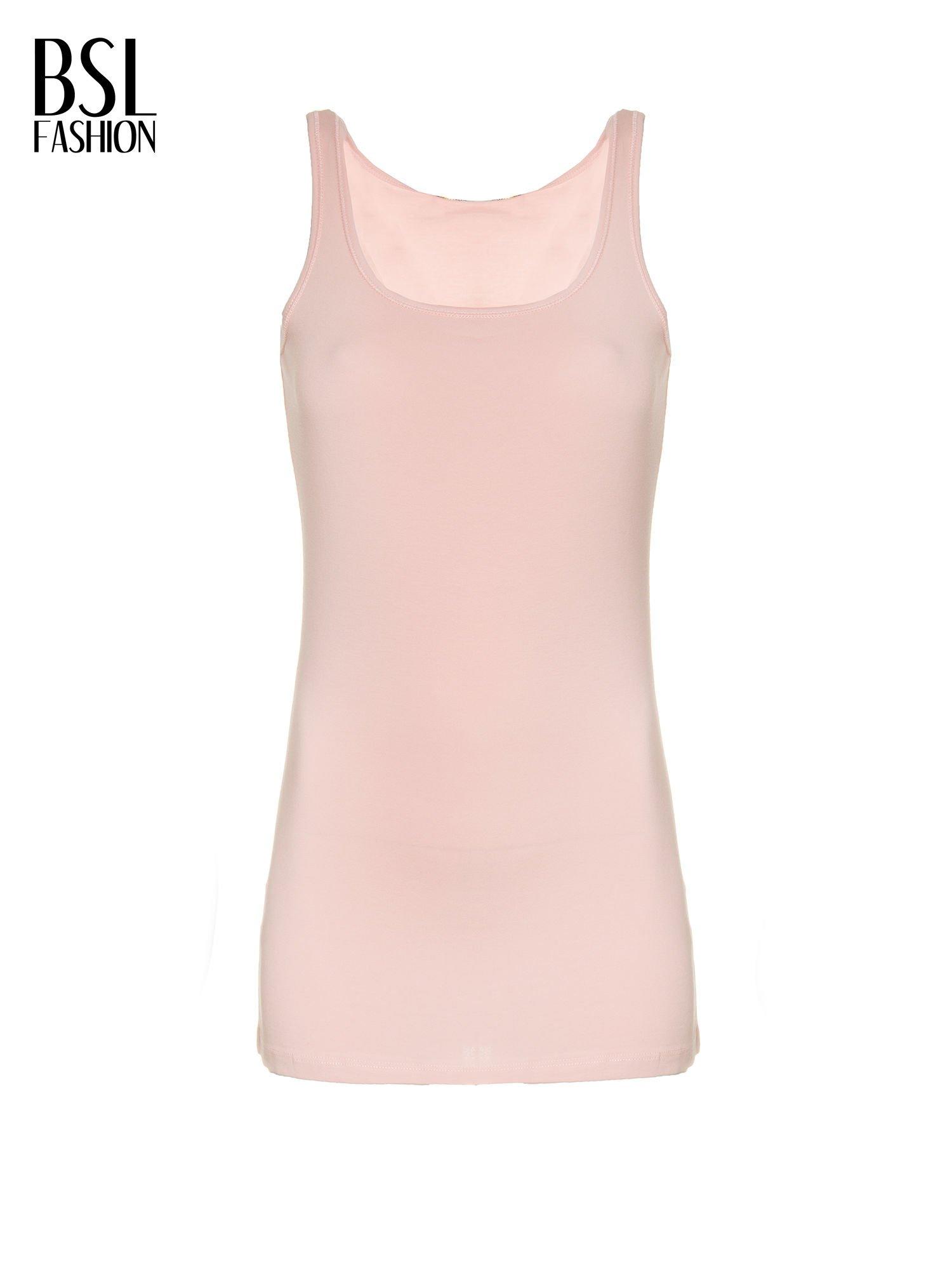 Różowy jednolity top na szerokich ramiączkach                                  zdj.                                  3