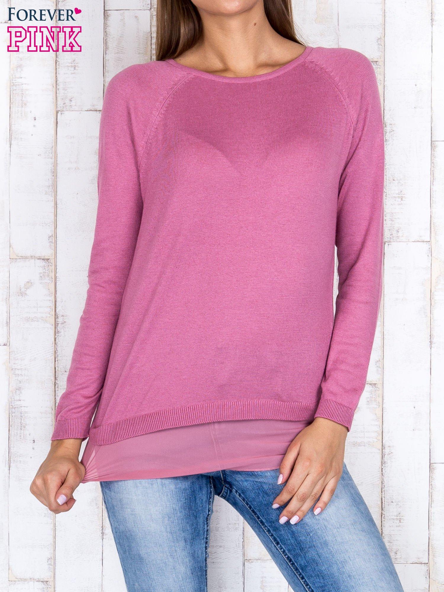 Różowy luźny sweter z siateczką i wycięciem z tyłu                                  zdj.                                  1