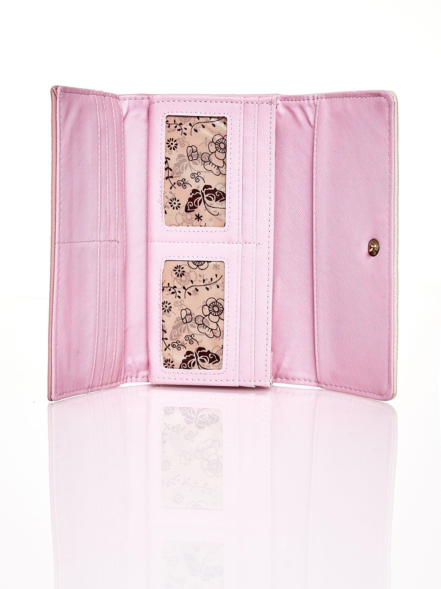 Różowy portfel z beżowym wykończeniem                                  zdj.                                  4
