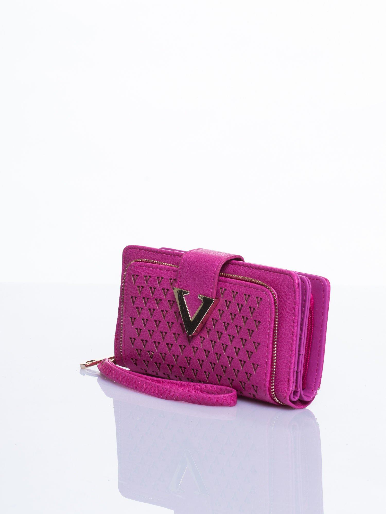 Różowy portfel ze złotym detalem V                                  zdj.                                  2