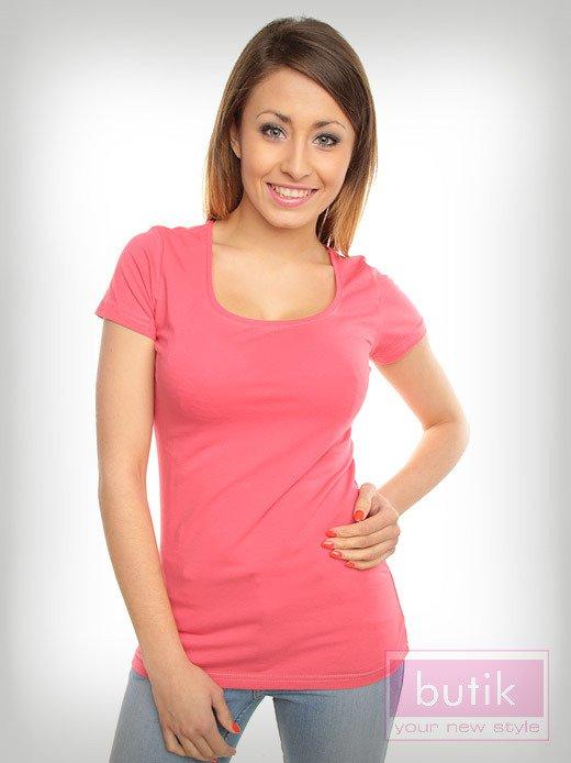Różowy prosty t-shirt sportowy                                  zdj.                                  3