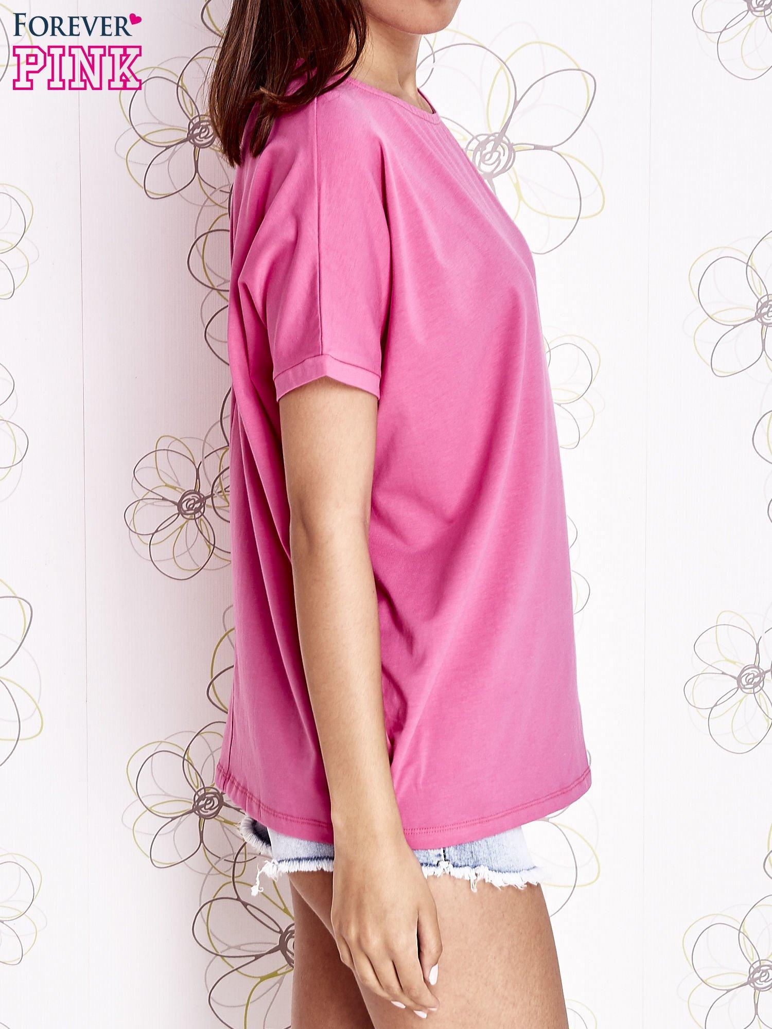 Różowy t-shirt oversize                                  zdj.                                  4