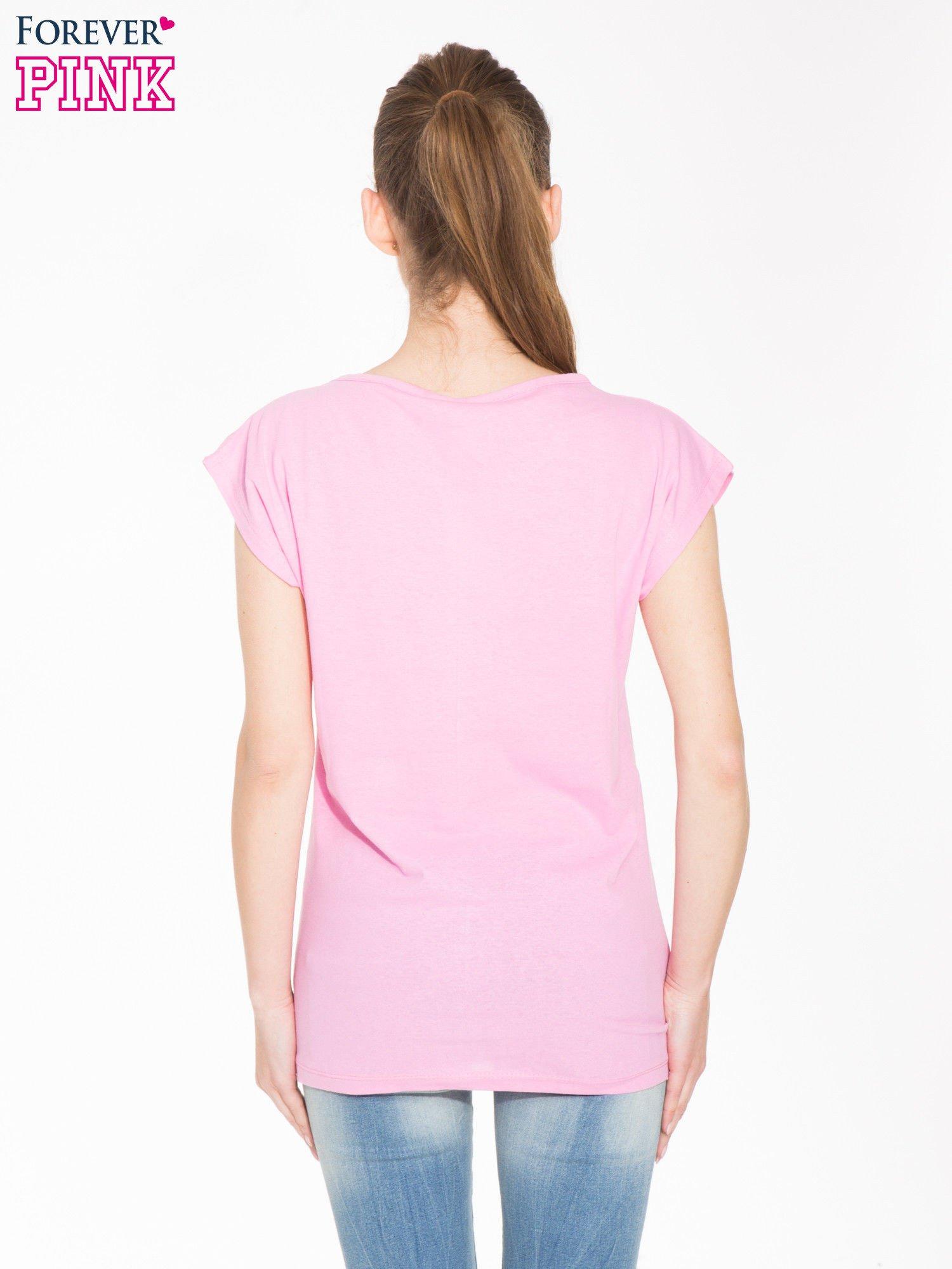Różowy t-shirt z dużym nadrukiem zebry                                  zdj.                                  3