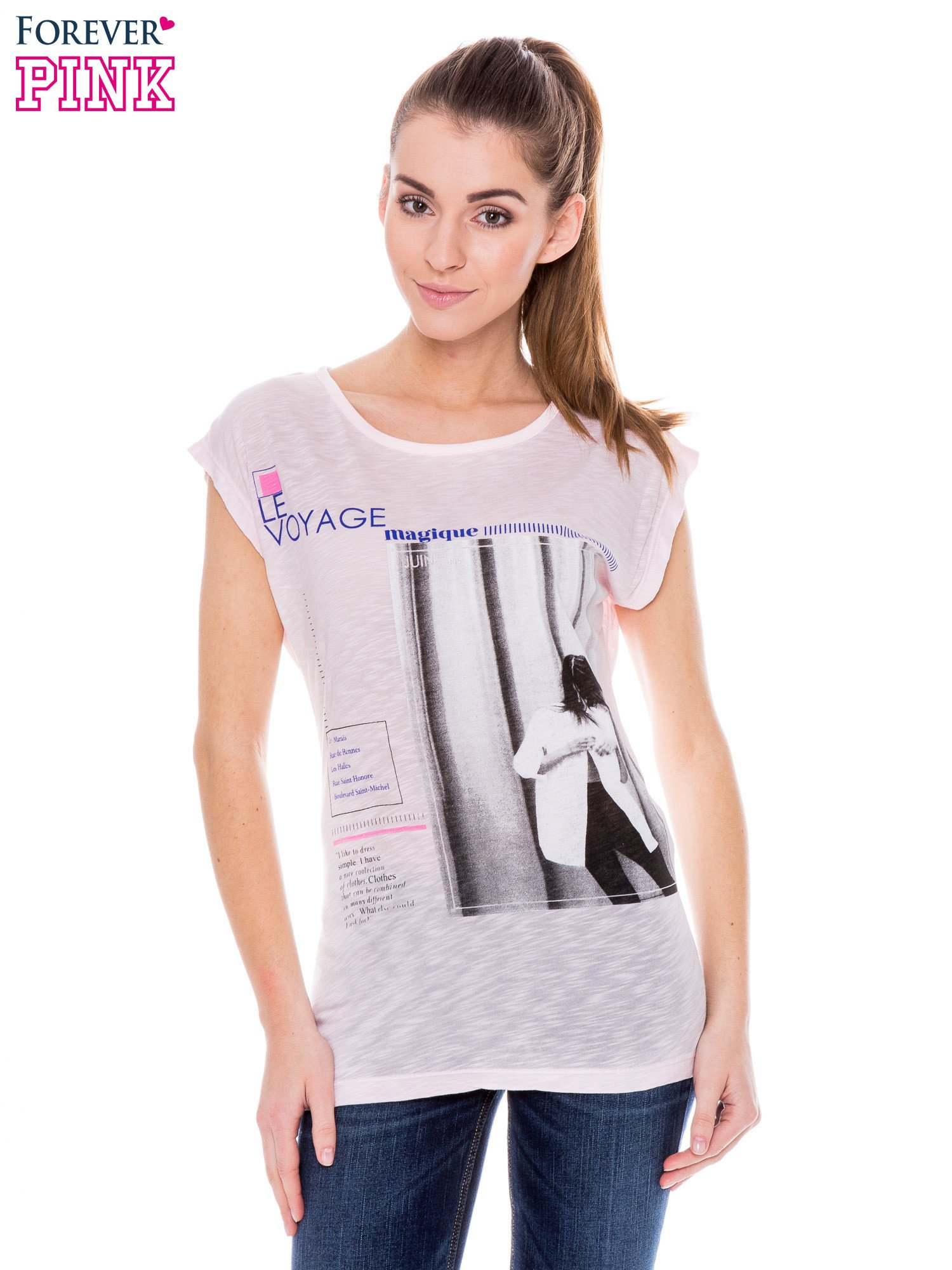 Różowy t-shirt z nadrukiem fashion                                  zdj.                                  1