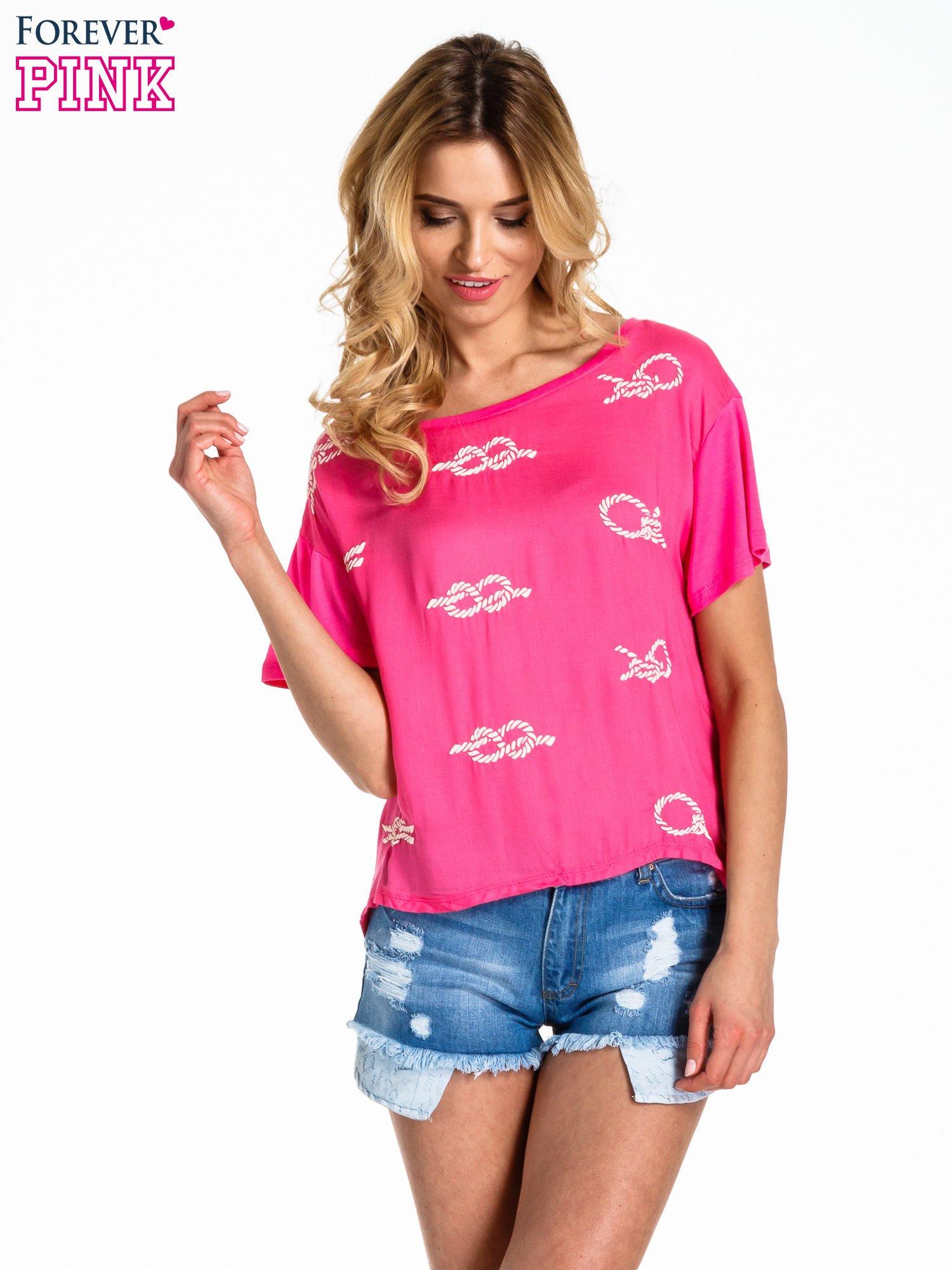 Różowy t-shirt z nadrukiem nieskończoności                                  zdj.                                  1