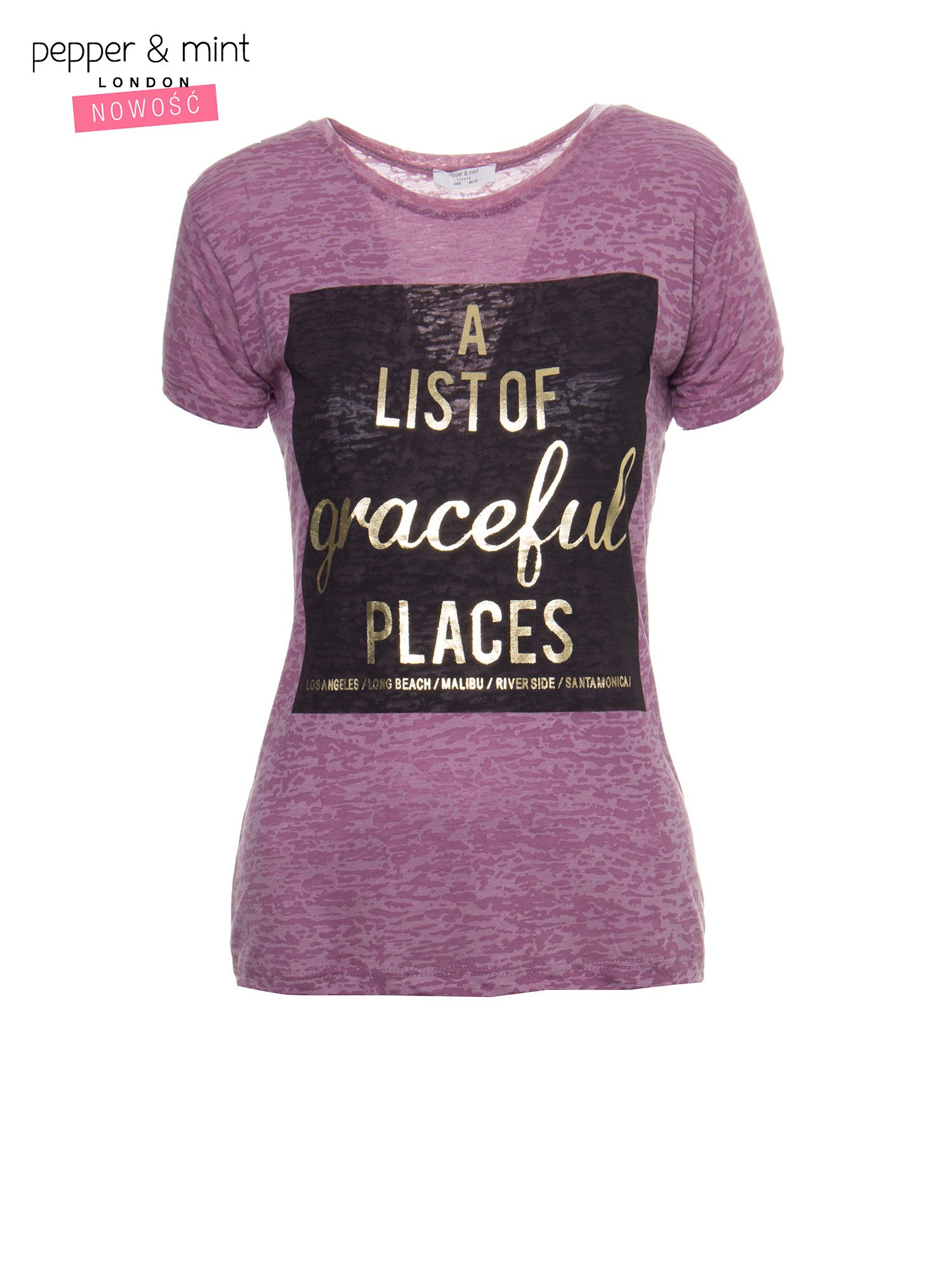 Różowy t-shirt ze złotym napisem A LIST OF GRACEFUL PLACES                                  zdj.                                  2
