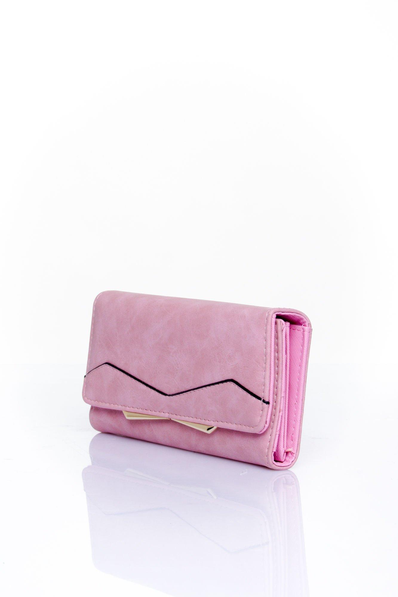 Różowy zamszowy portfel z geometrycznym motywem                                  zdj.                                  3