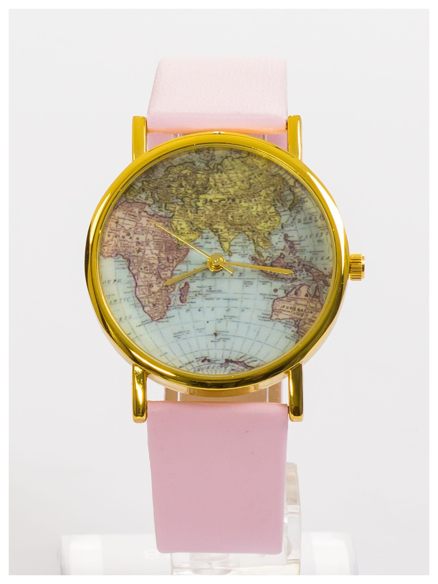 Różowy zegarek damski na skórzanym pasku                                  zdj.                                  1