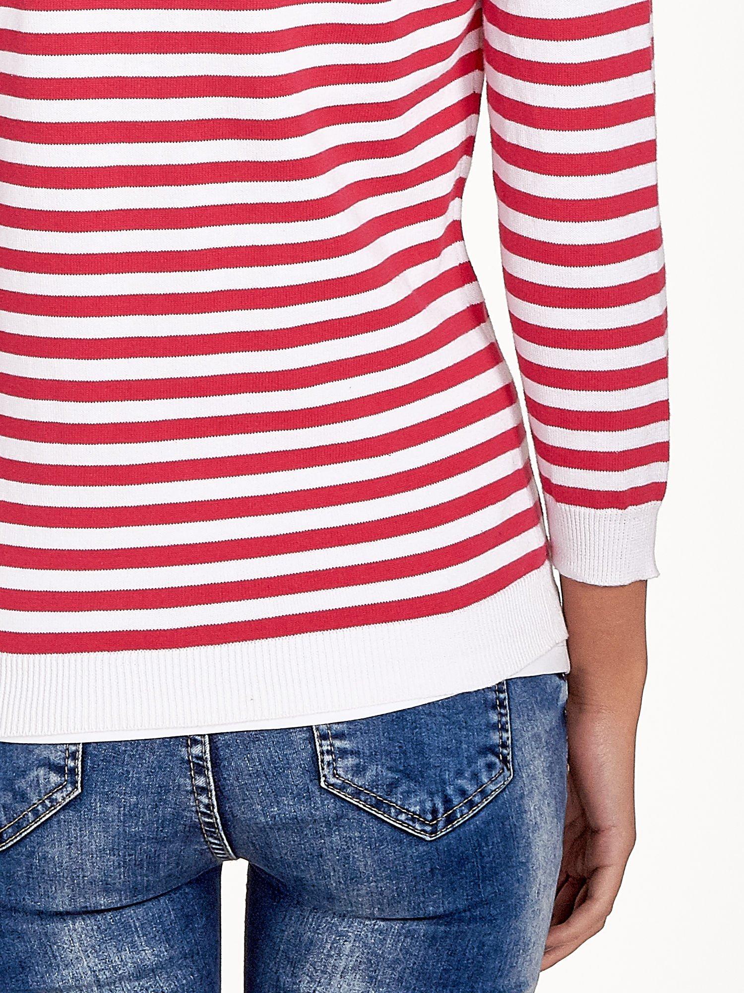 Rozpinany sweter w biało-czerwone paski z kieszonkami po bokach                                  zdj.                                  7