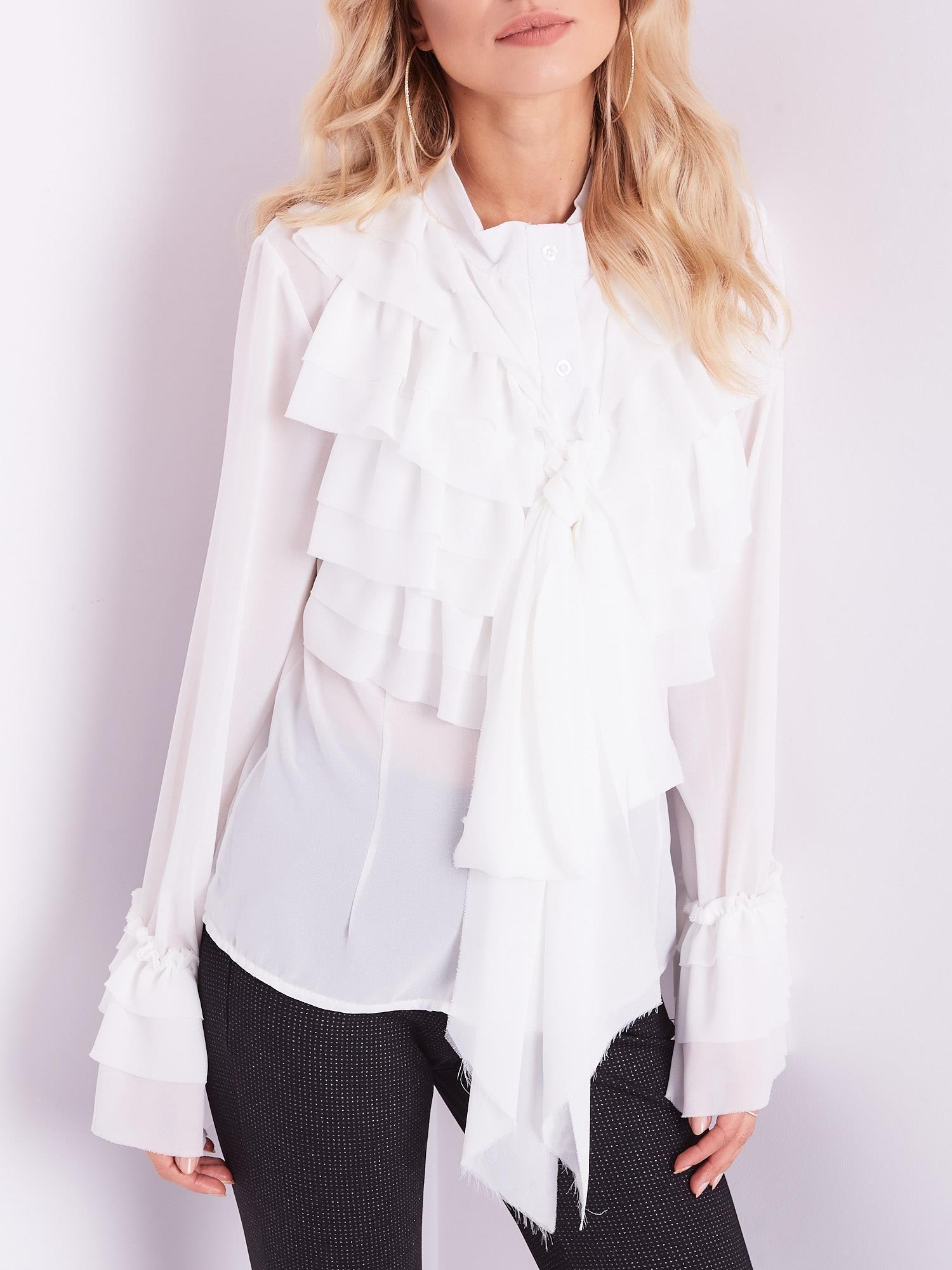 c09b2afbdf Biała koszula z falbankami i wiązaniem - Koszula one size - sklep ...