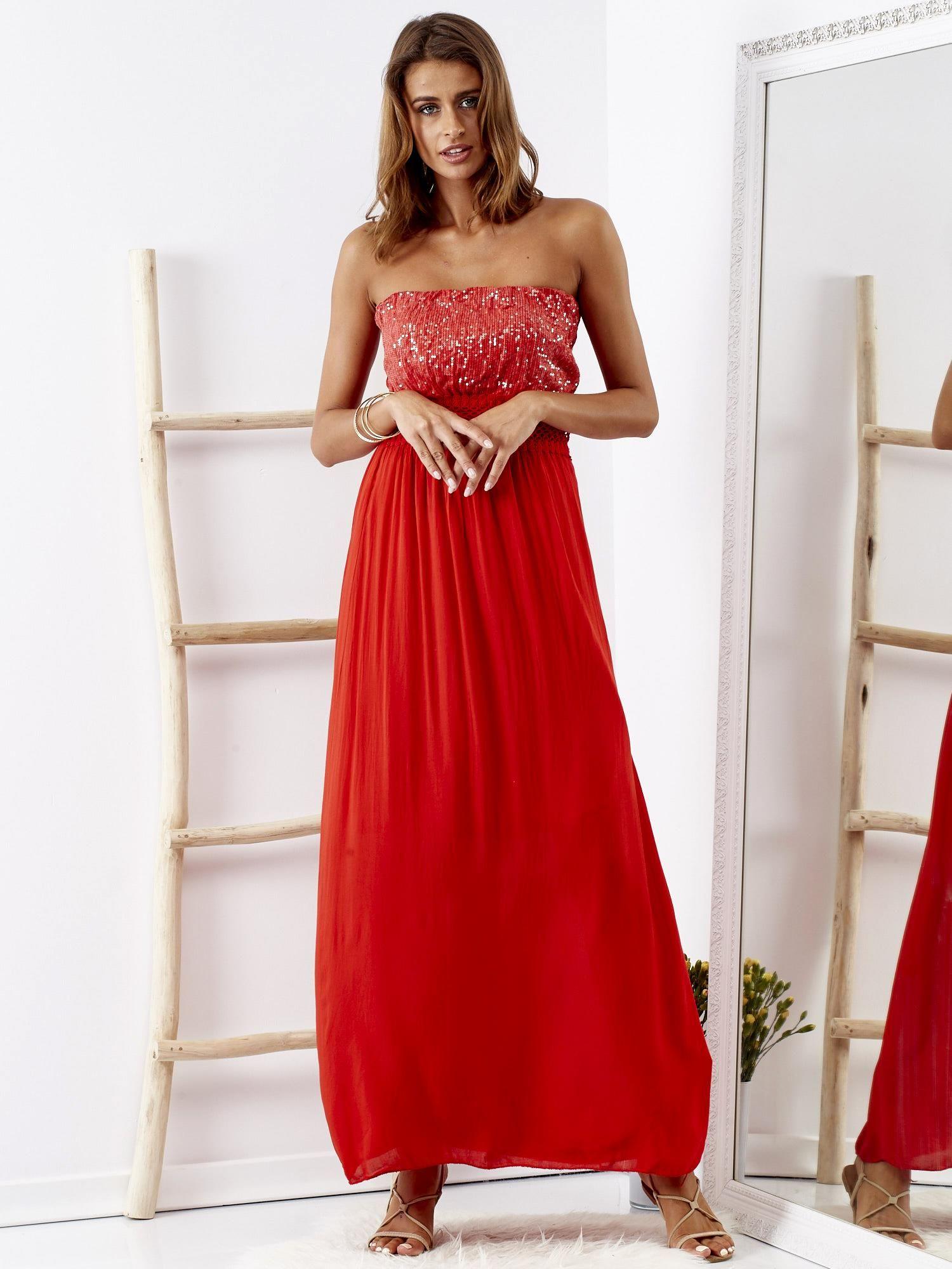 d152e6a145 Czerwona sukienka maxi z cekinową górą - Sukienka koktajlowa - sklep ...