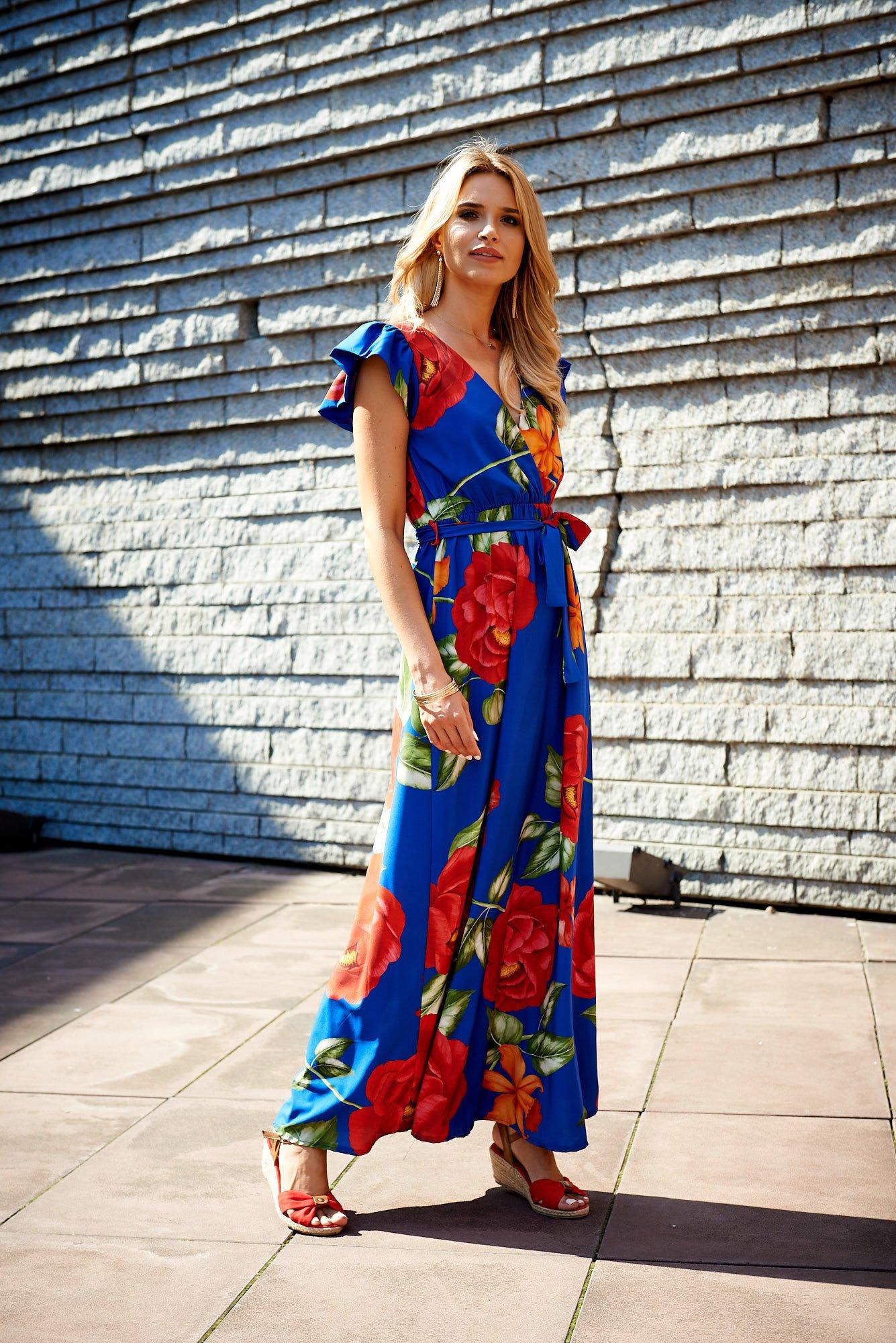 Scandezza Niebieska Długa Sukienka W Kwiaty Sukienka Koktajlowa