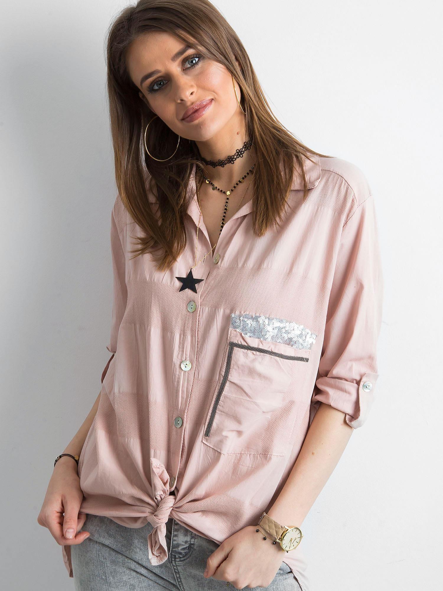 4d1d461a9432ad Różowa koszula damska - Koszula klasyczna - sklep eButik.pl