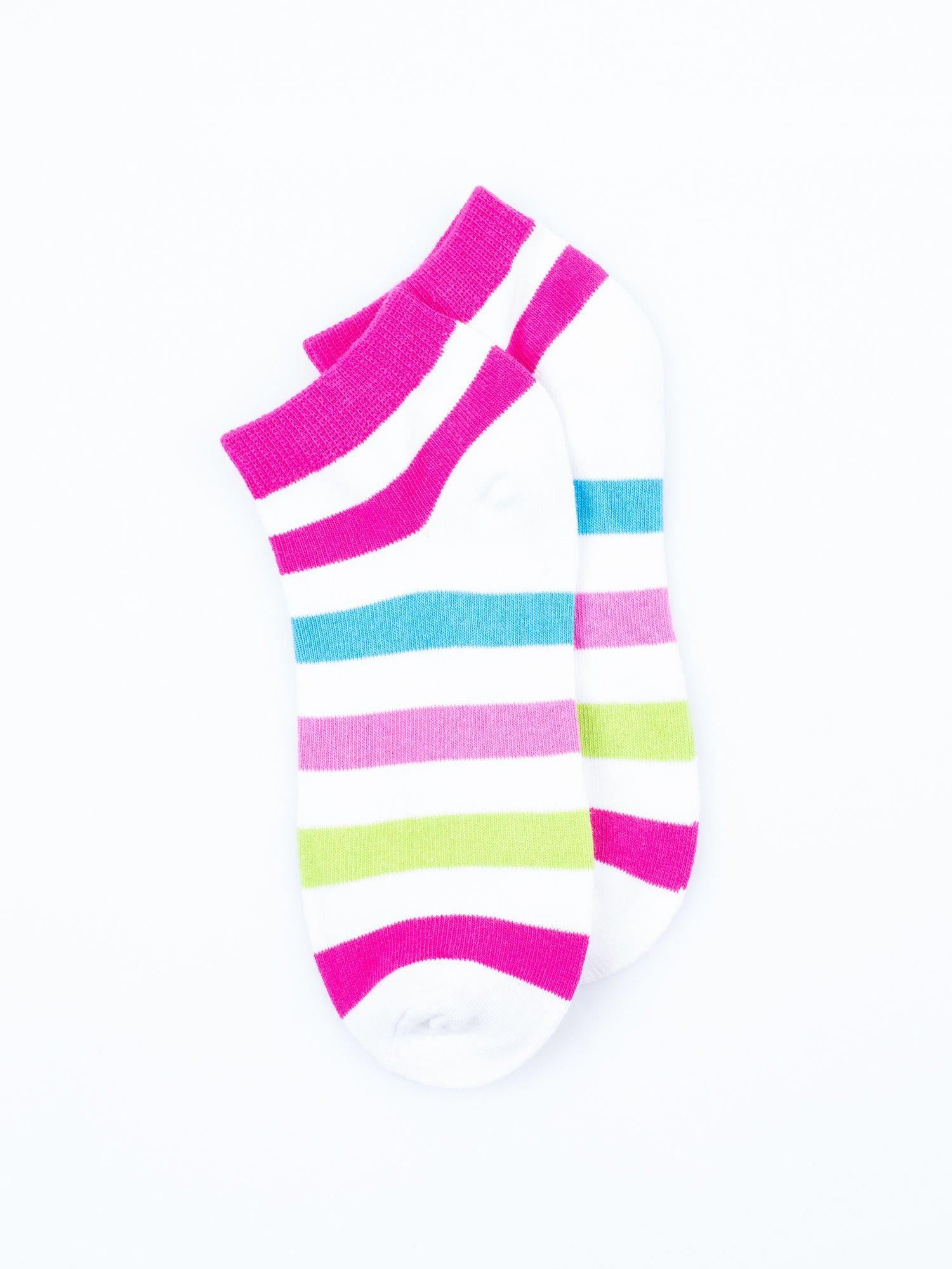 Skarpetki damskie stopki biały-niebieski paski zestaw 2 pary                                  zdj.                                  3