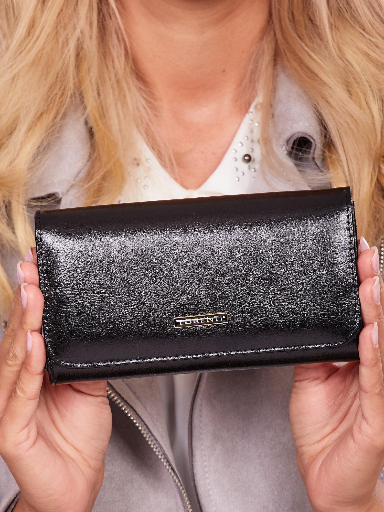 47669888dadd1 Skórzany podłużny portfel damski czarny - Akcesoria portfele - sklep ...
