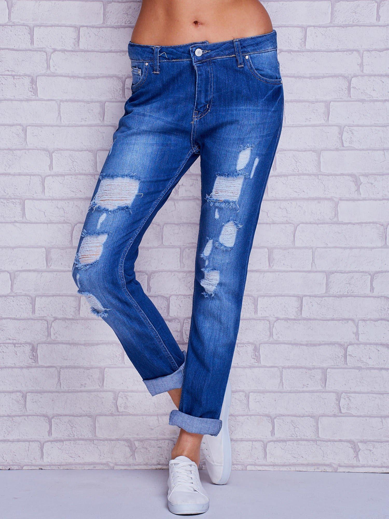 9650d2dc4a74 Spodnie jeansowe boyfriend z dziurami niebieskie - Spodnie jeansowe ...