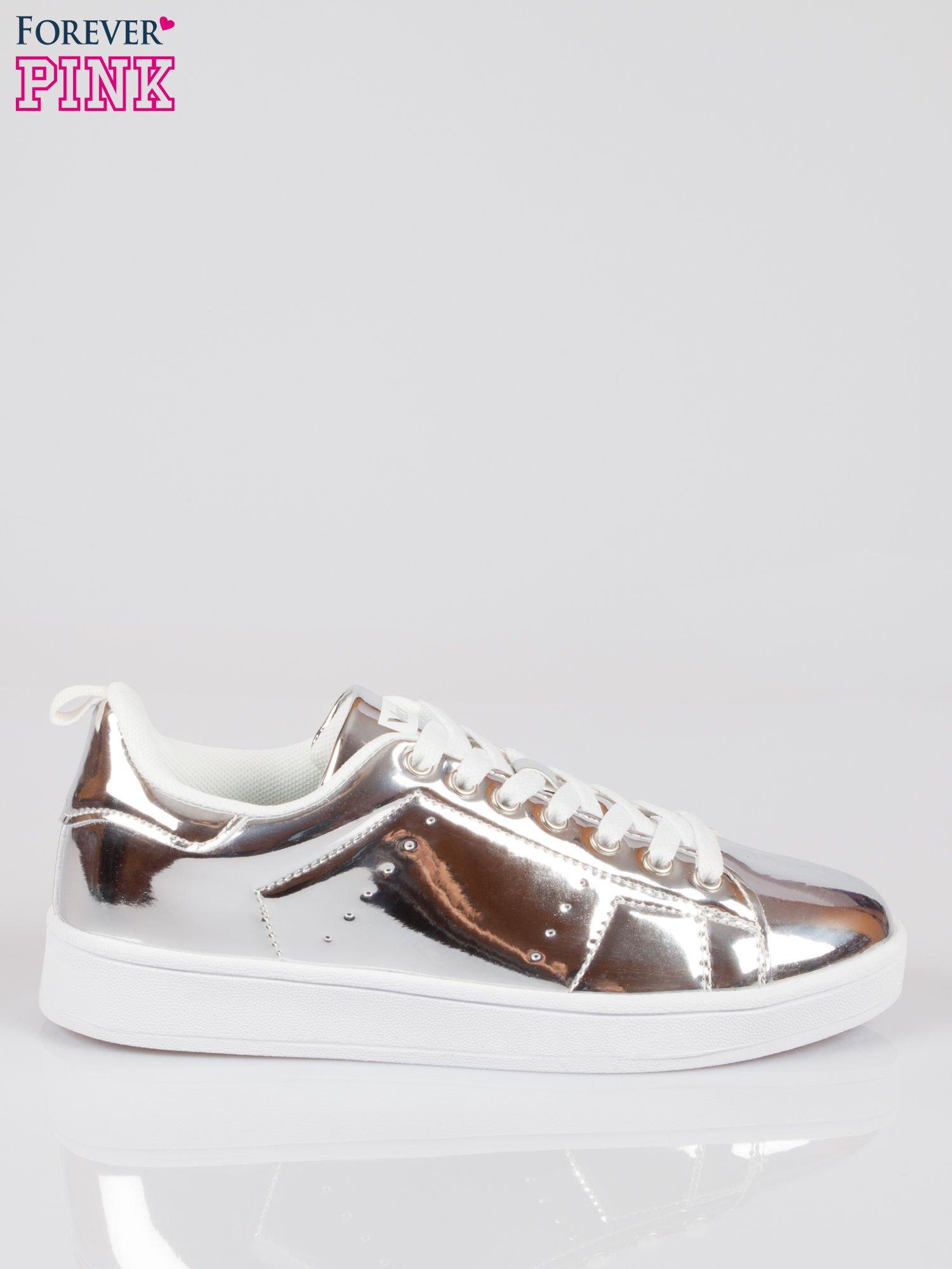 Srebrne buty sportowe faux leather Picture na grubej podeszwie                                  zdj.                                  1