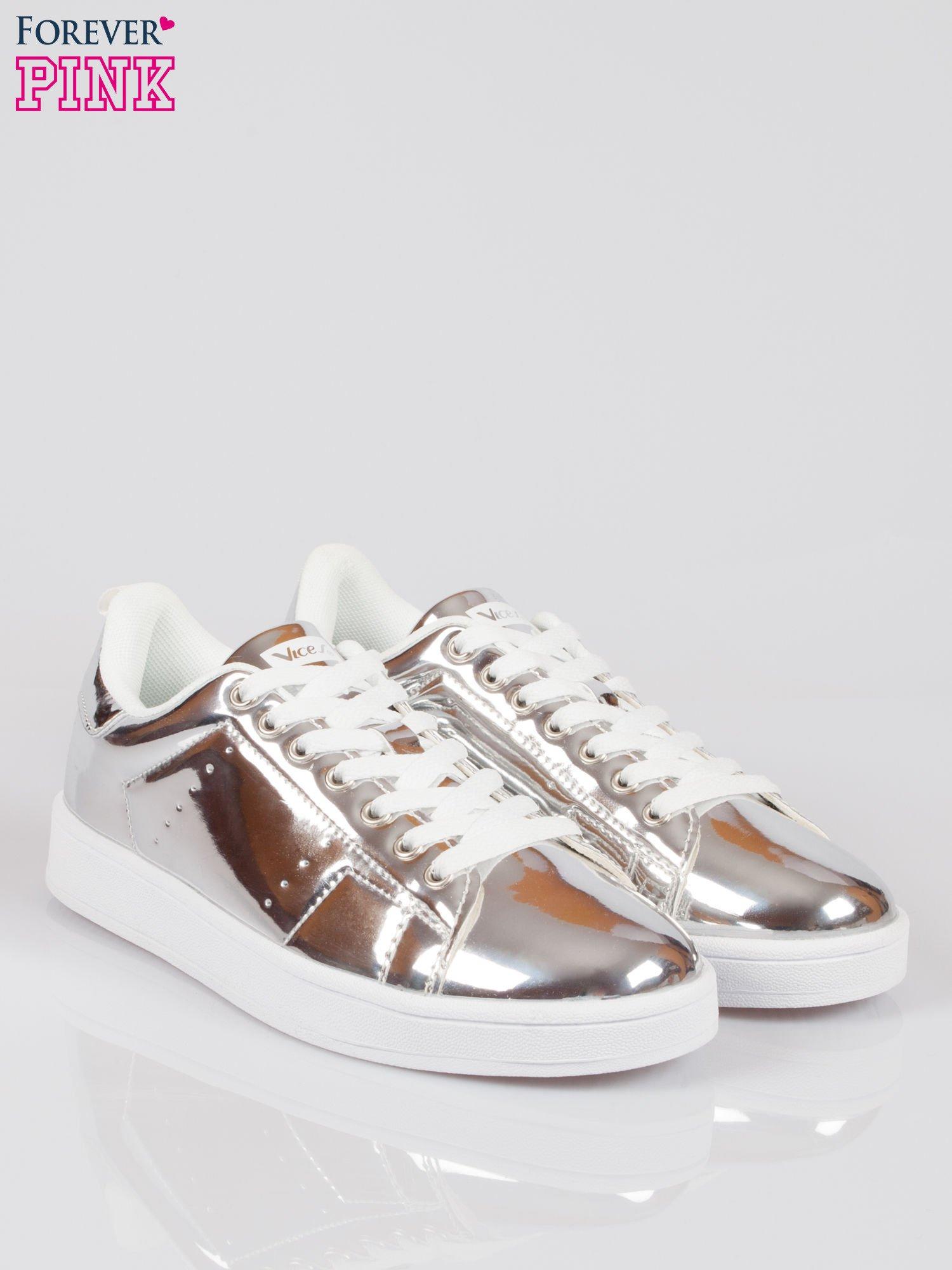 Srebrne buty sportowe faux leather Picture na grubej podeszwie                                  zdj.                                  2
