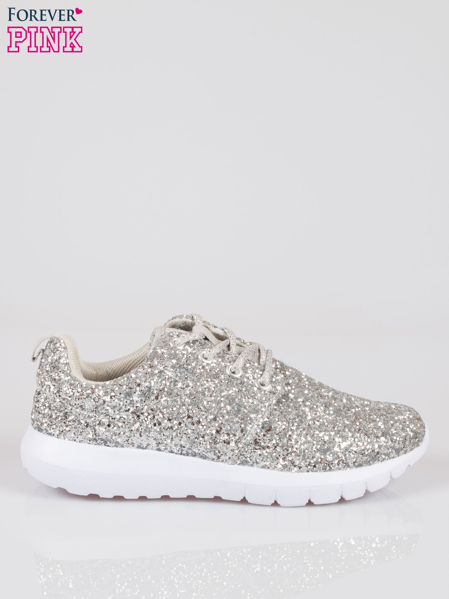 Srebrne buty sportowe textile Crummy z brokatowym efektem                                  zdj.                                  1