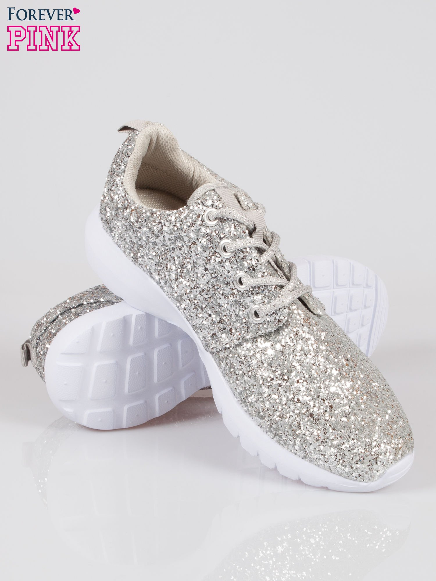 Srebrne buty sportowe textile Crummy z brokatowym efektem                                  zdj.                                  4