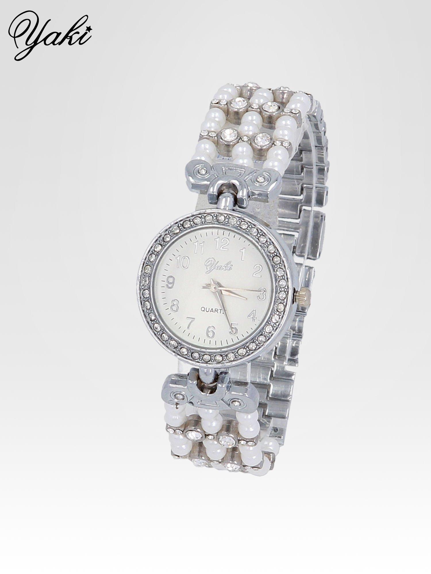 Srebrny biżuteryjny zegarek na bransolecie z cyrkoniami                                  zdj.                                  2