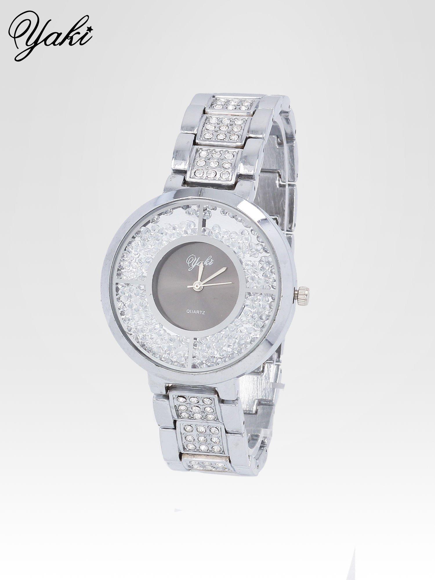 Srebrny zegarek damski na bransolecie z czarną cyrkoniową tarczą                                  zdj.                                  2